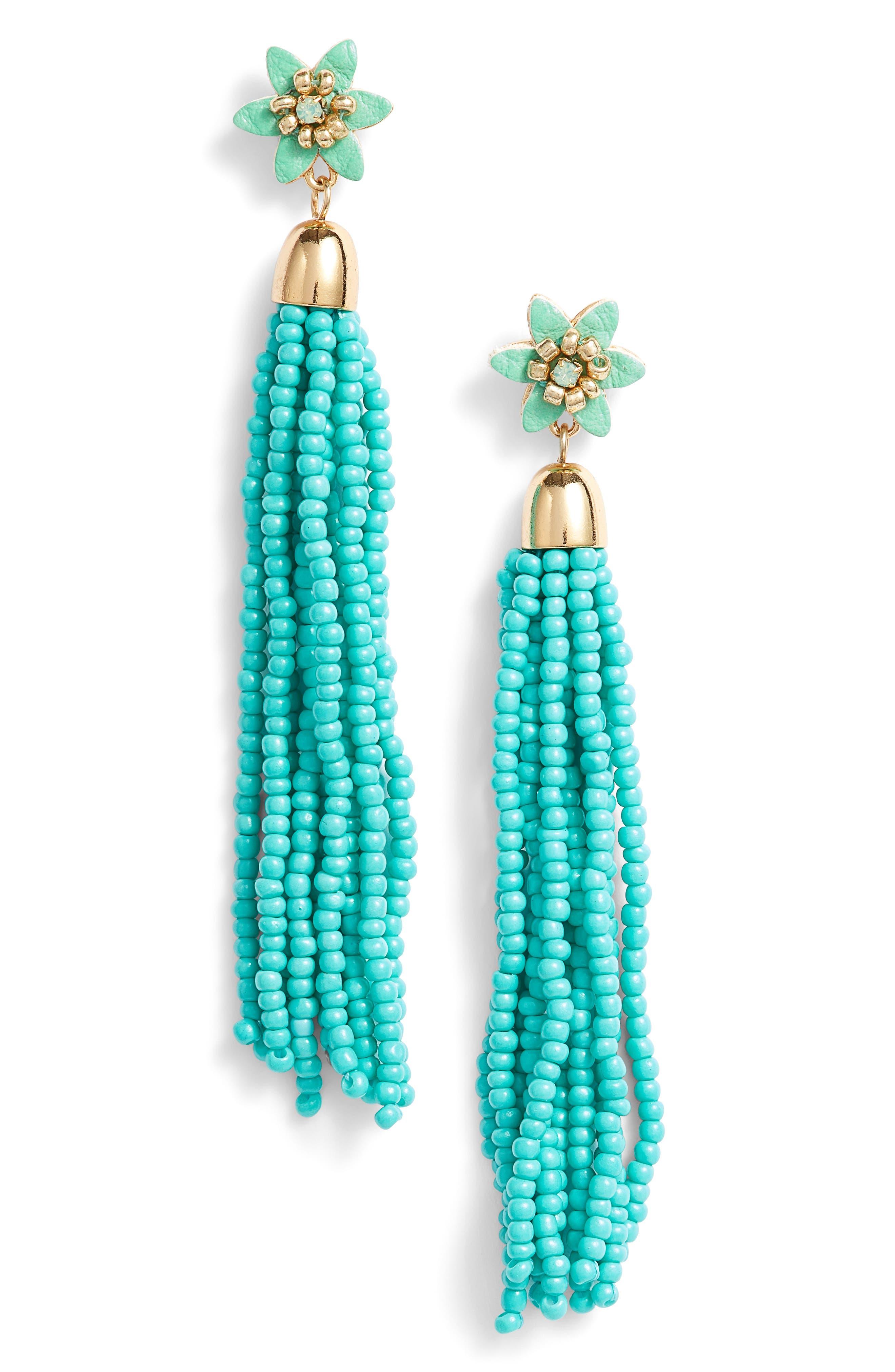 Calla Beaded Tassel Earrings,                             Main thumbnail 1, color,                             Turquoise/ Gold