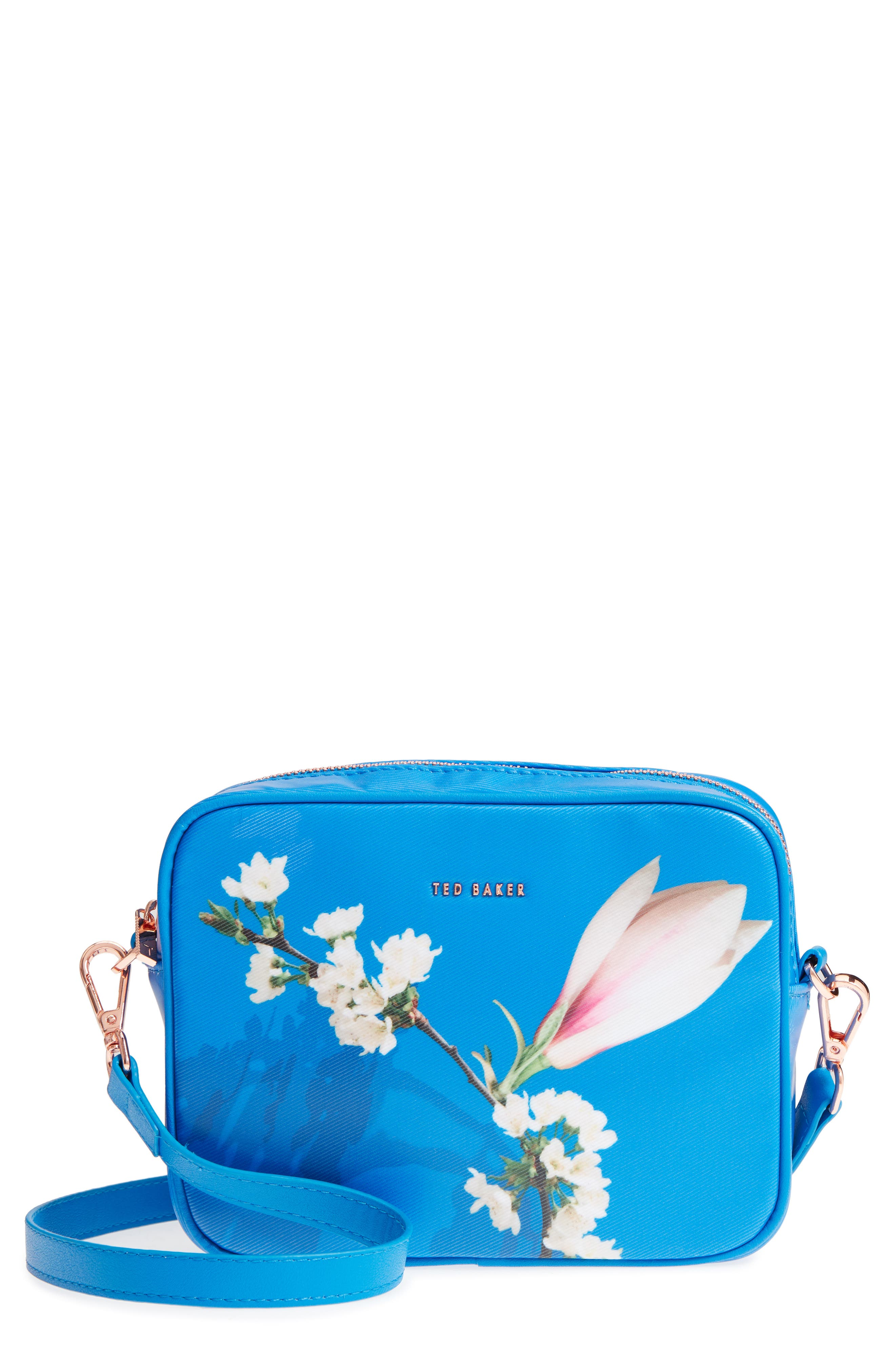 Harmony Print Canvas Camera Bag,                             Main thumbnail 1, color,                             Bright Blue