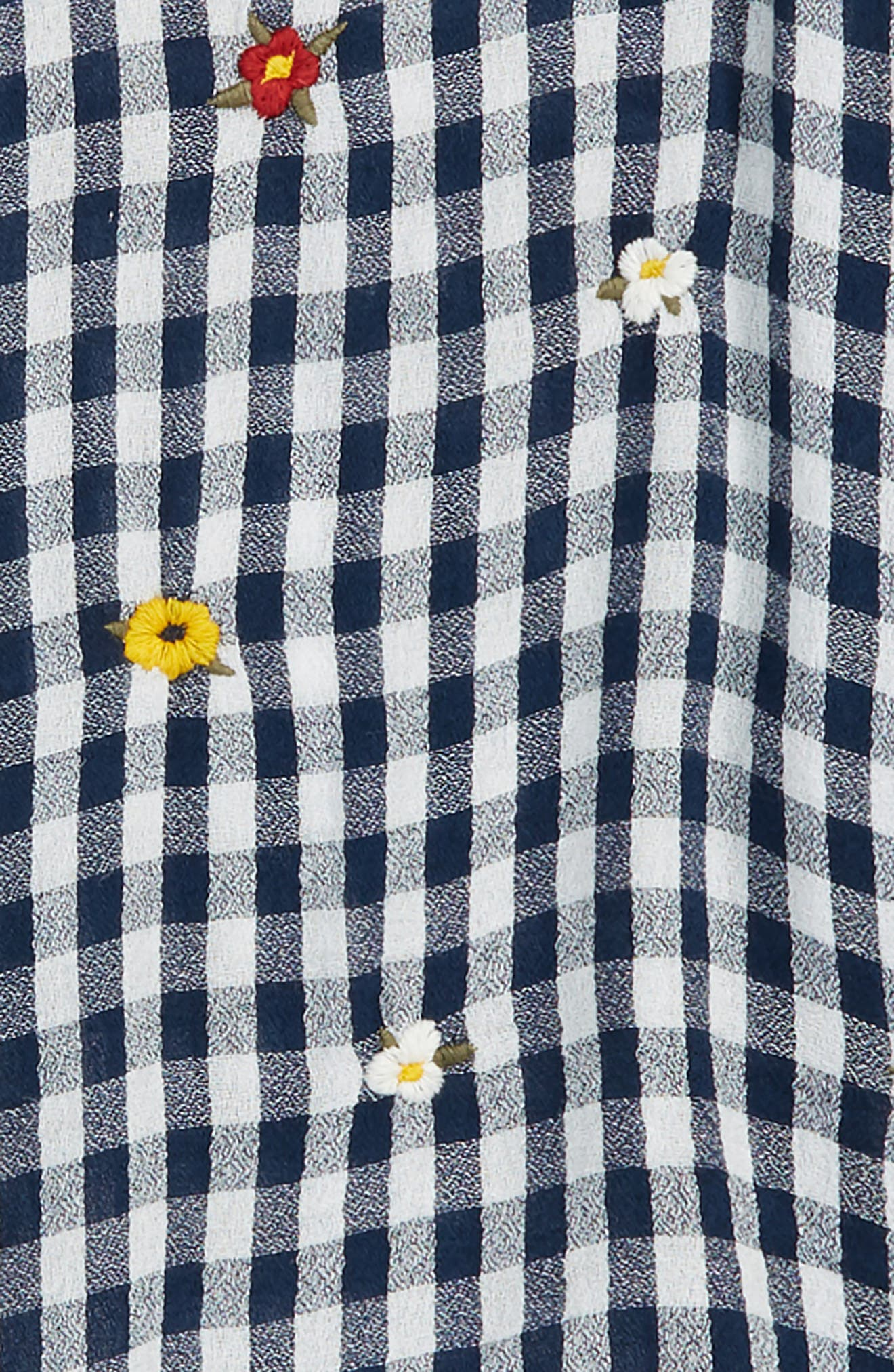 Gingham Embroidered Shirt,                             Alternate thumbnail 2, color,                             Navy Armada- White Gingham