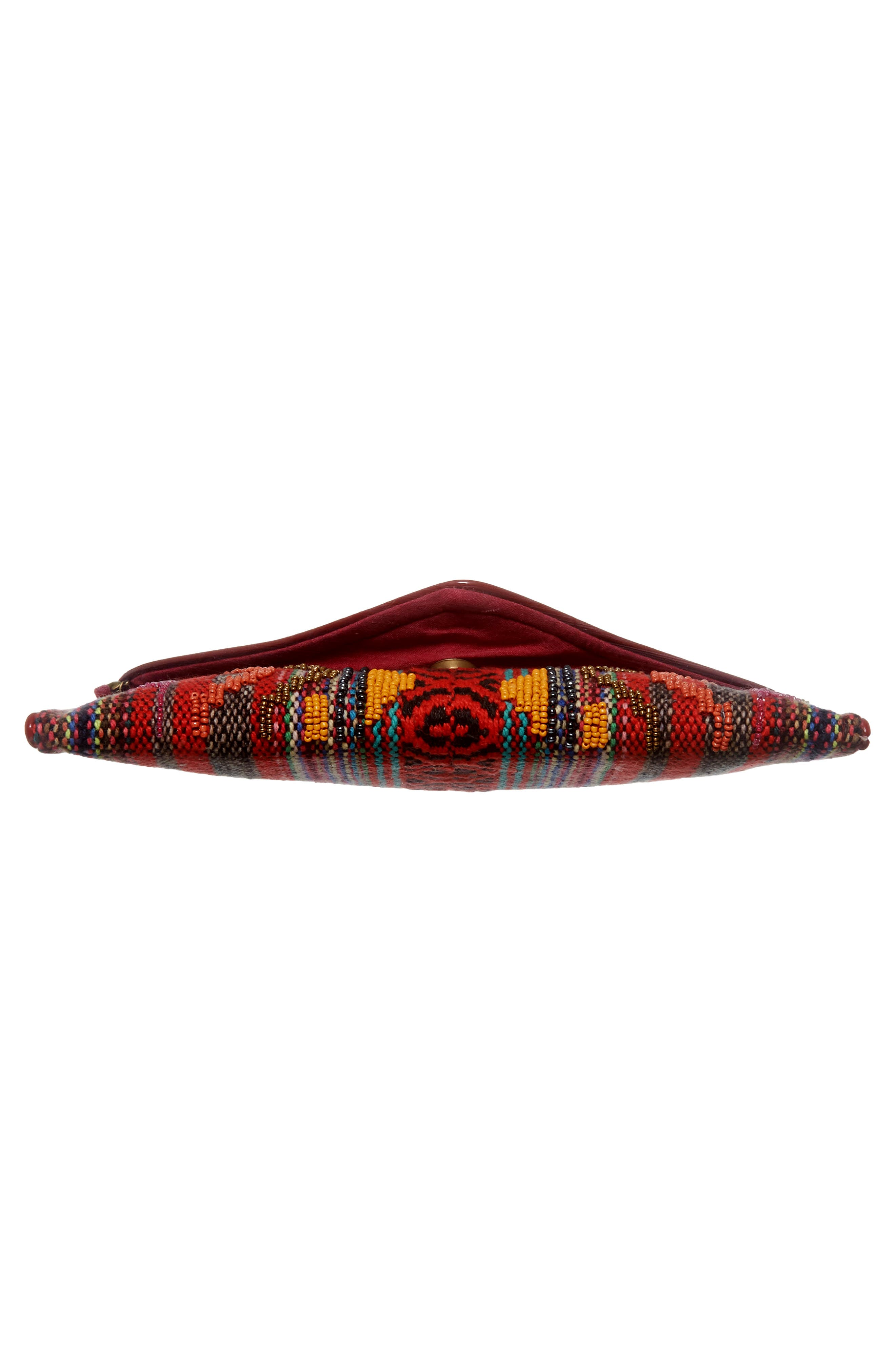 Envelope Printed Fabric Clutch,                             Alternate thumbnail 6, color,                             Red