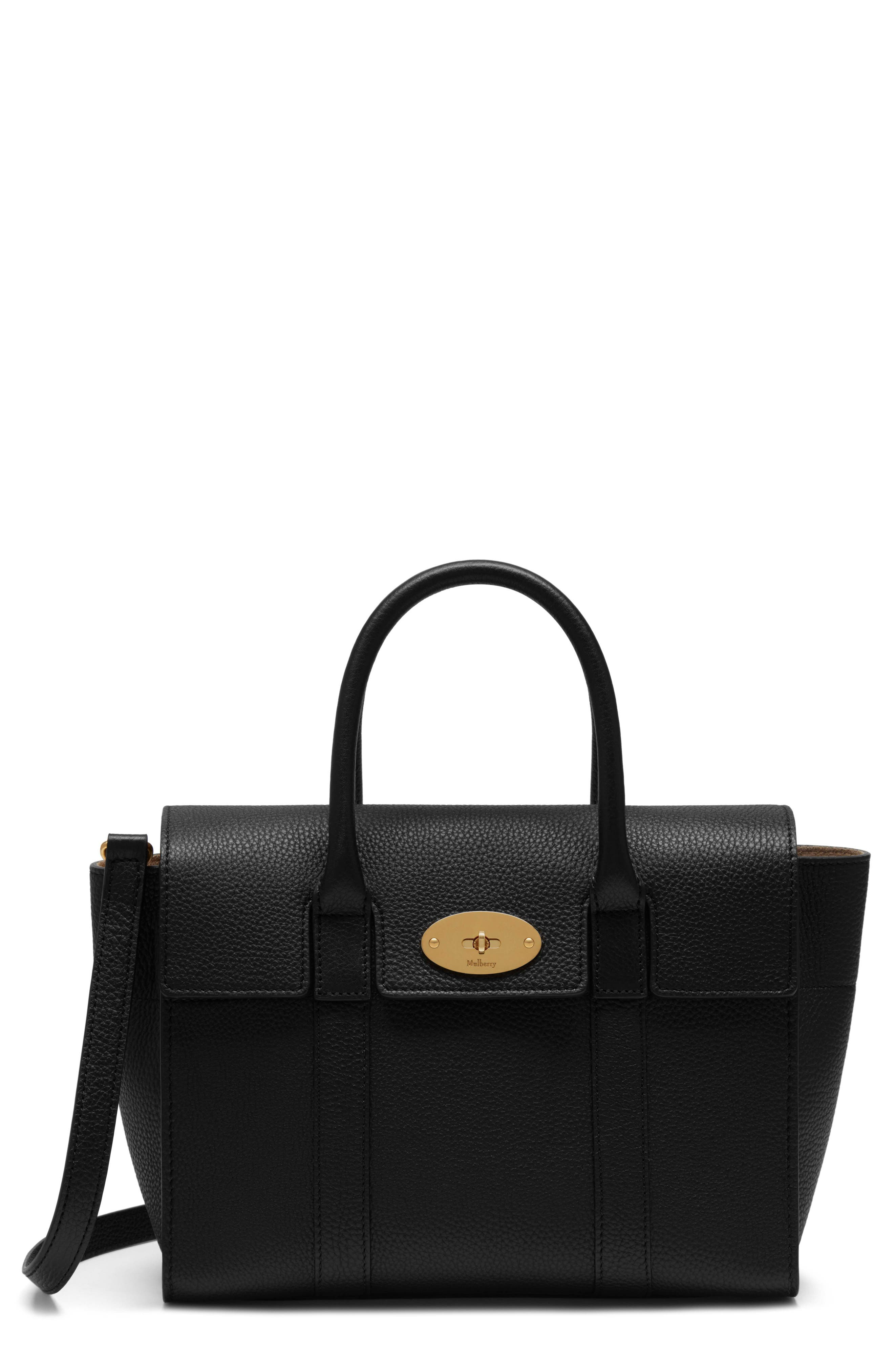 Small Bayswater Leather Satchel,                         Main,                         color, Black