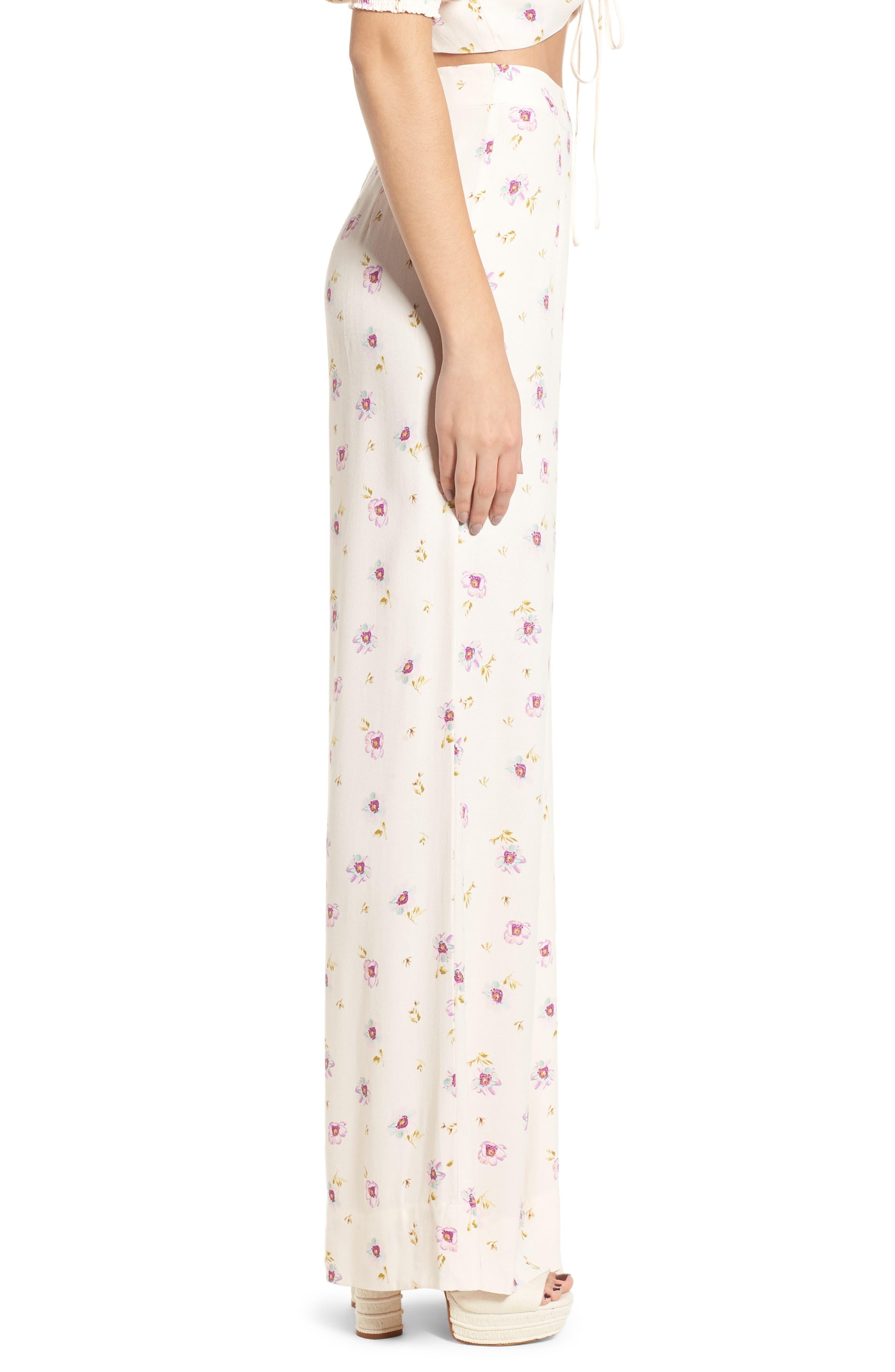 Carter High Waist Wide Leg Pants,                             Alternate thumbnail 4, color,                             Lilac Floral