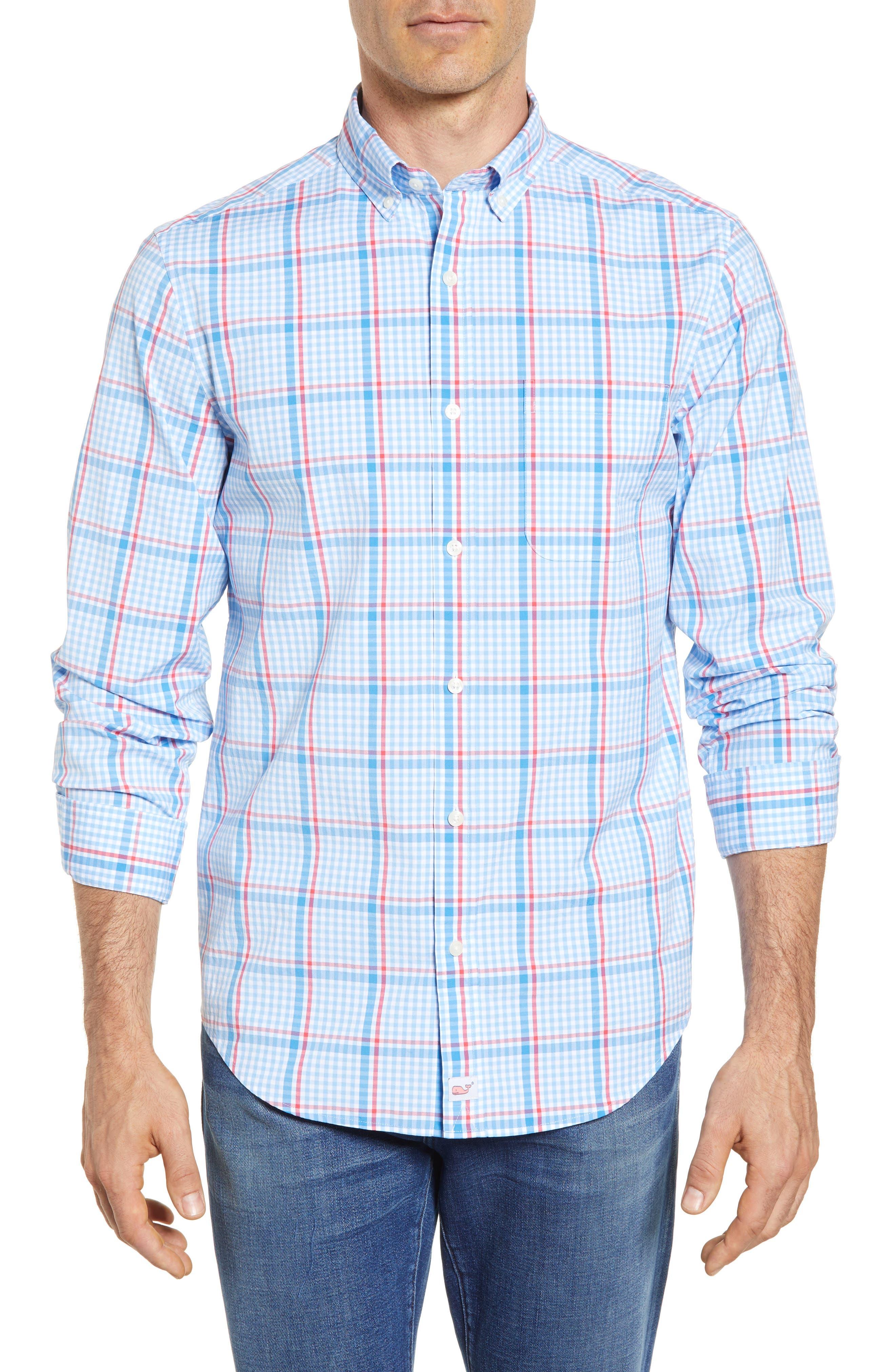 Palmer Island Classic Fit Plaid Sport Shirt,                         Main,                         color, Ocean Breeze