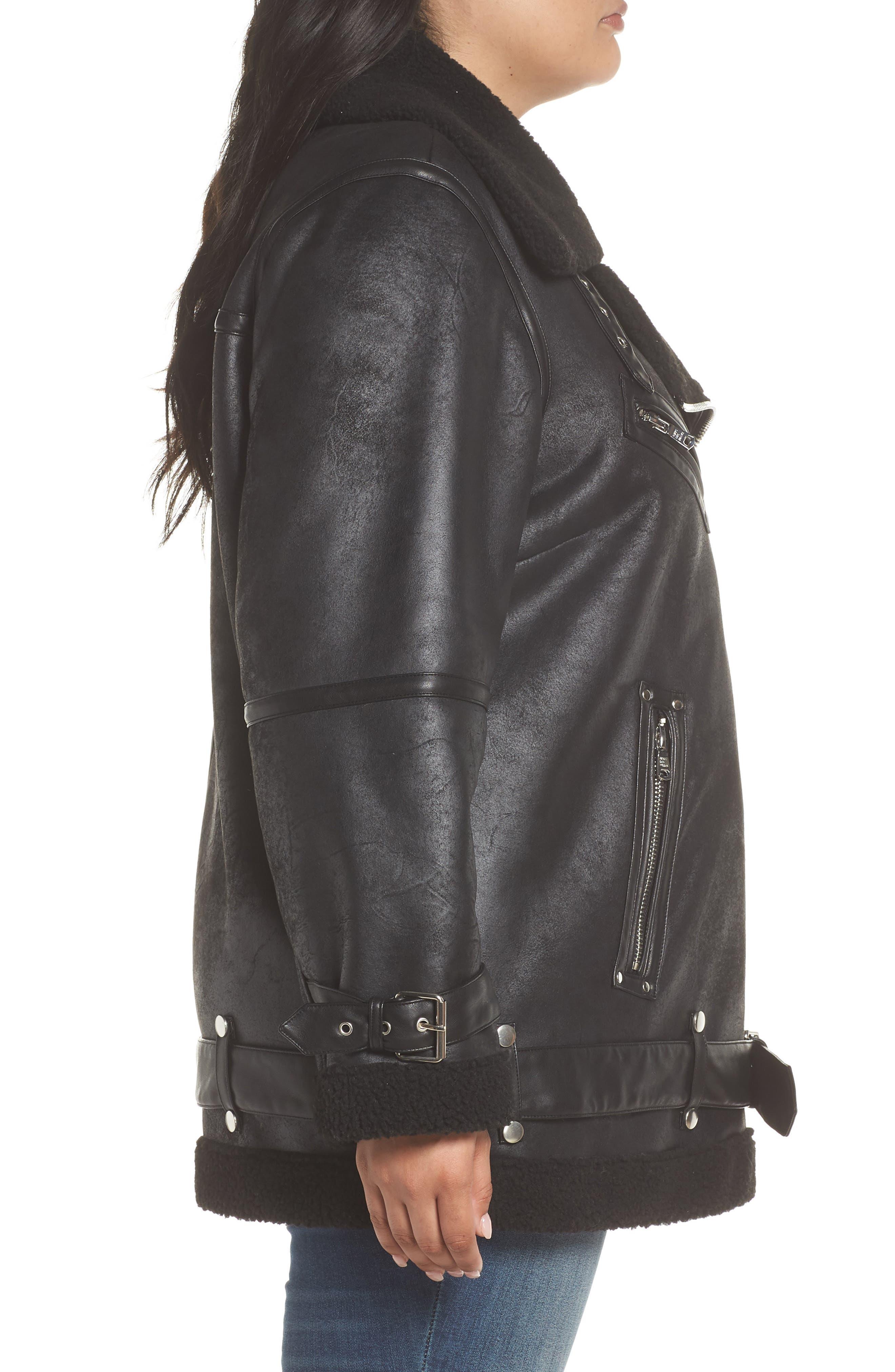 Faux Shearling Biker Jacket,                             Alternate thumbnail 6, color,                             Black