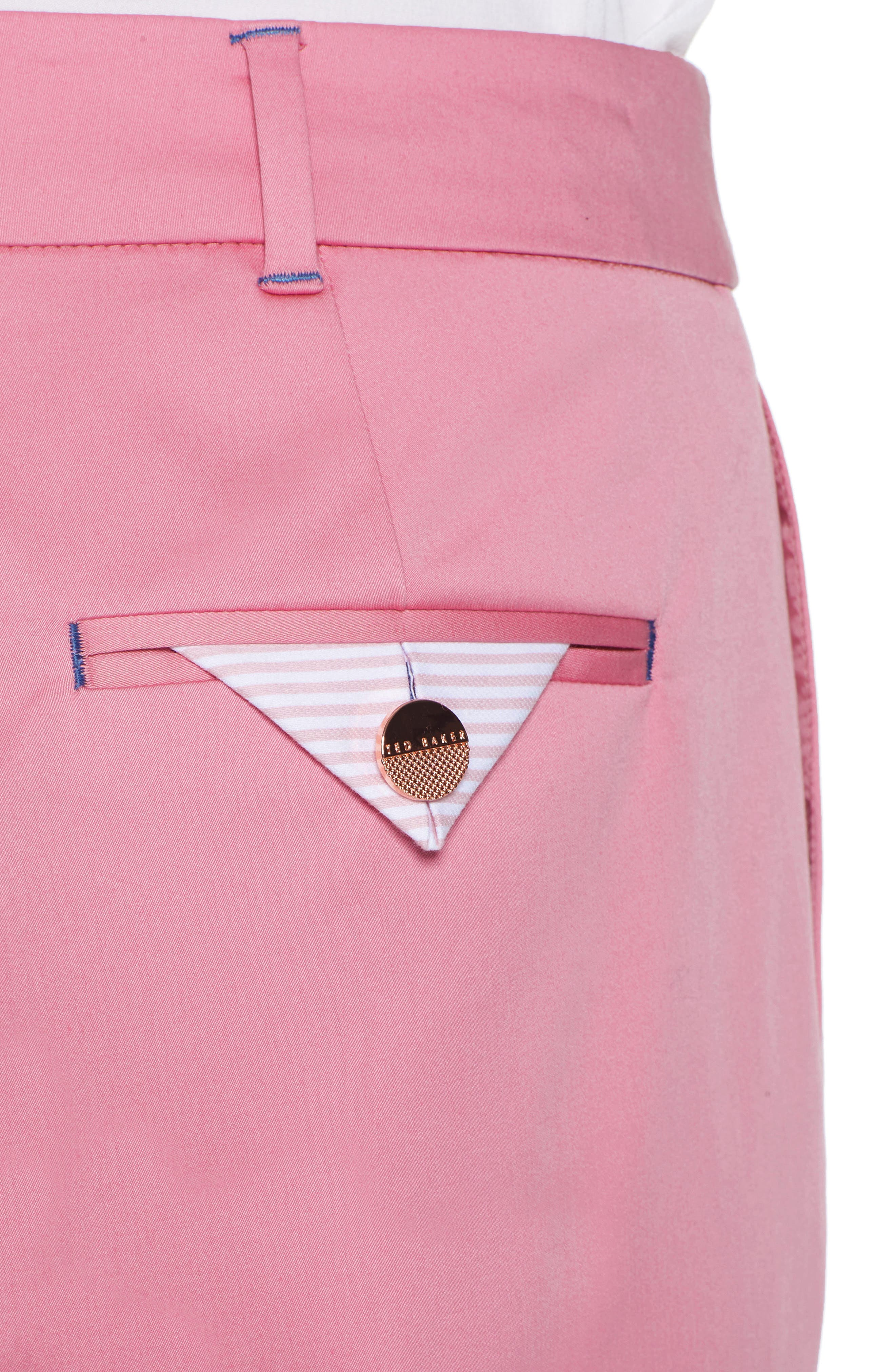 Saydii Deep Cuff Stretch Cotton Chino Pants,                             Alternate thumbnail 4, color,                             Dusky Pink