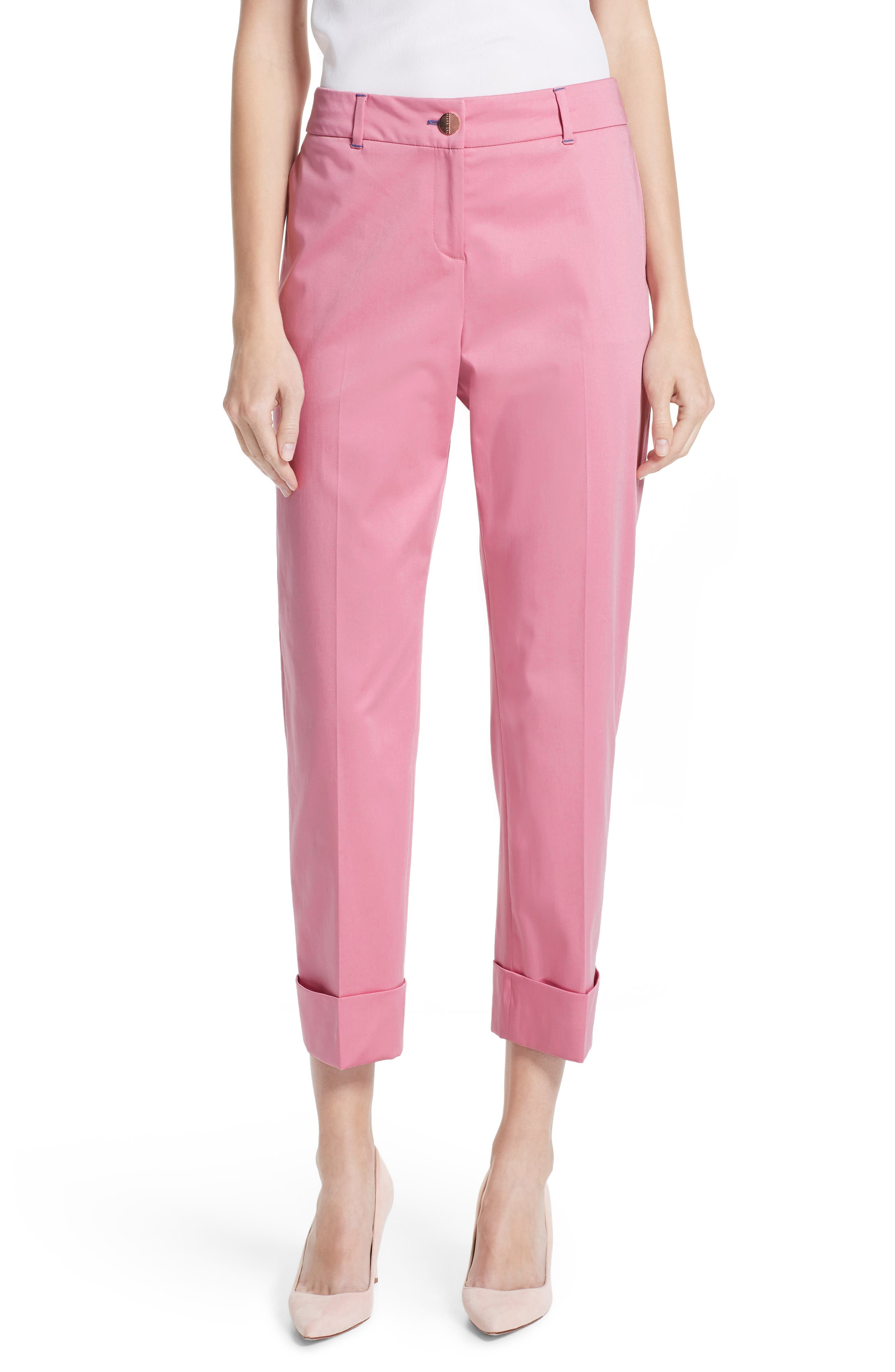 Saydii Deep Cuff Stretch Cotton Chino Pants,                             Main thumbnail 1, color,                             Dusky Pink
