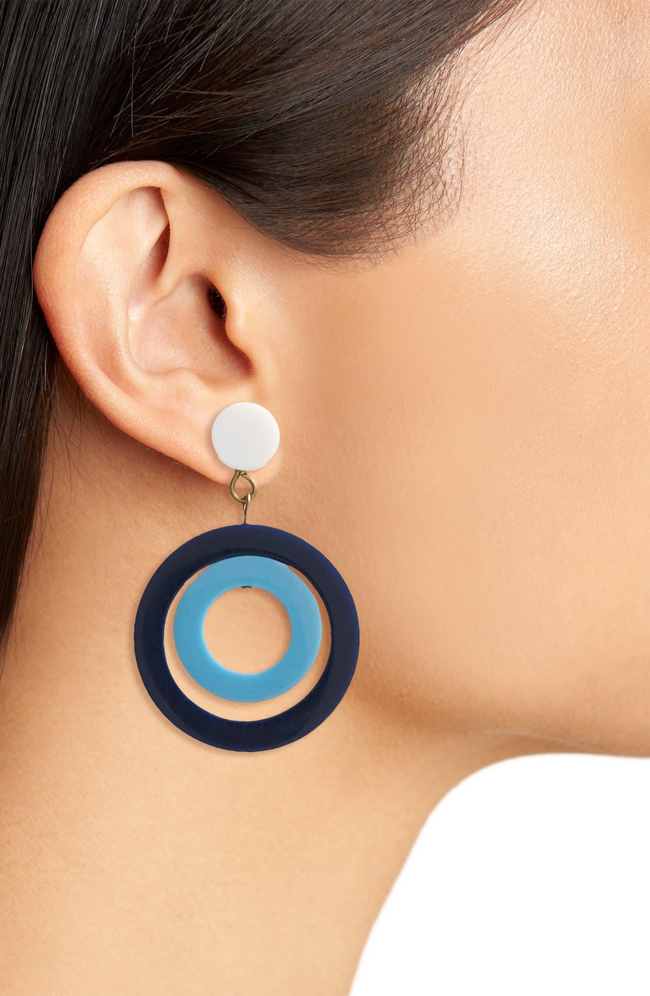 Huntington Earrings,                             Alternate thumbnail 2, color,                             Navy/ Turquoise
