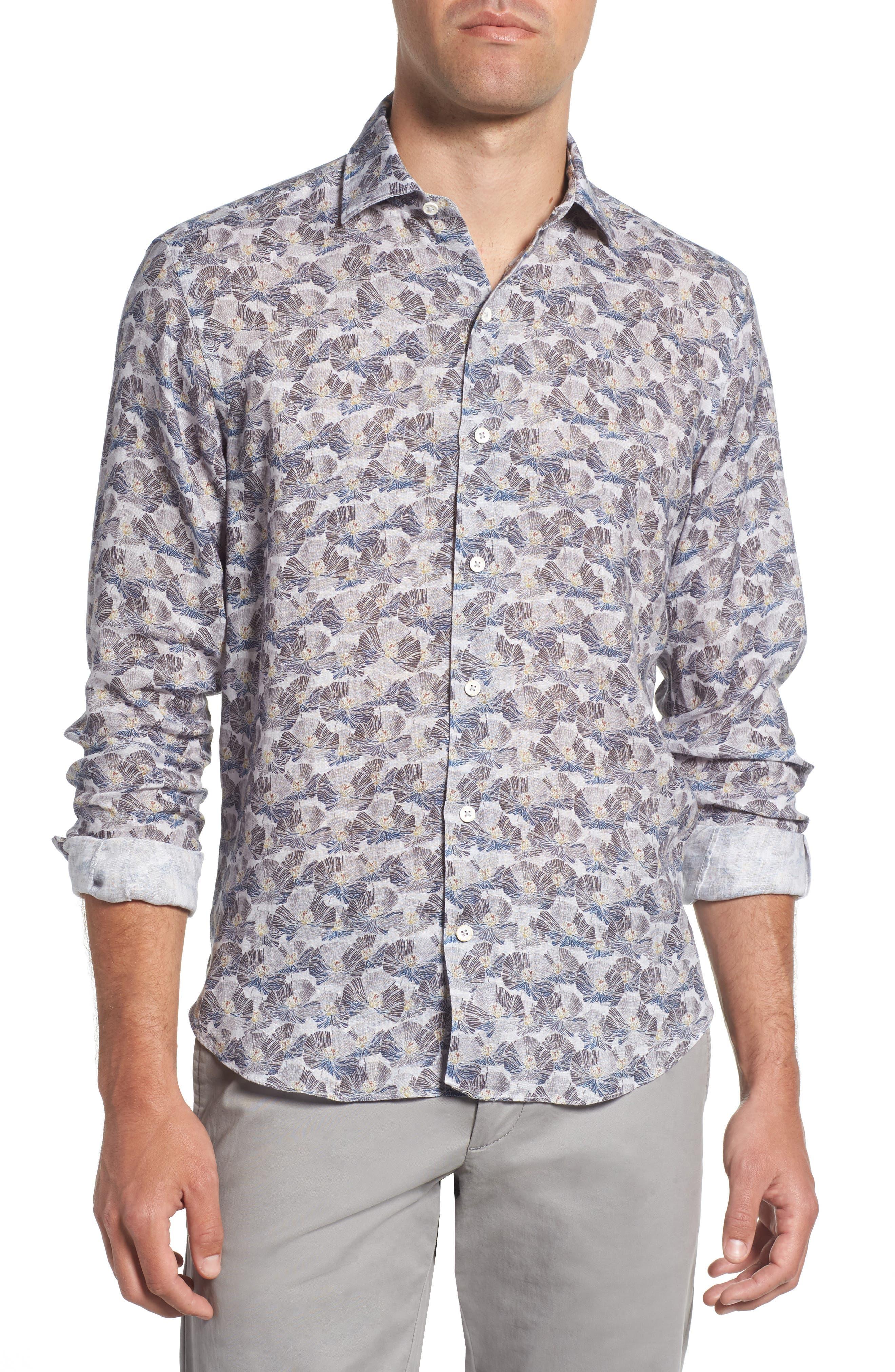 Trim Fit Print Linen Sport Shirt,                         Main,                         color, Grey