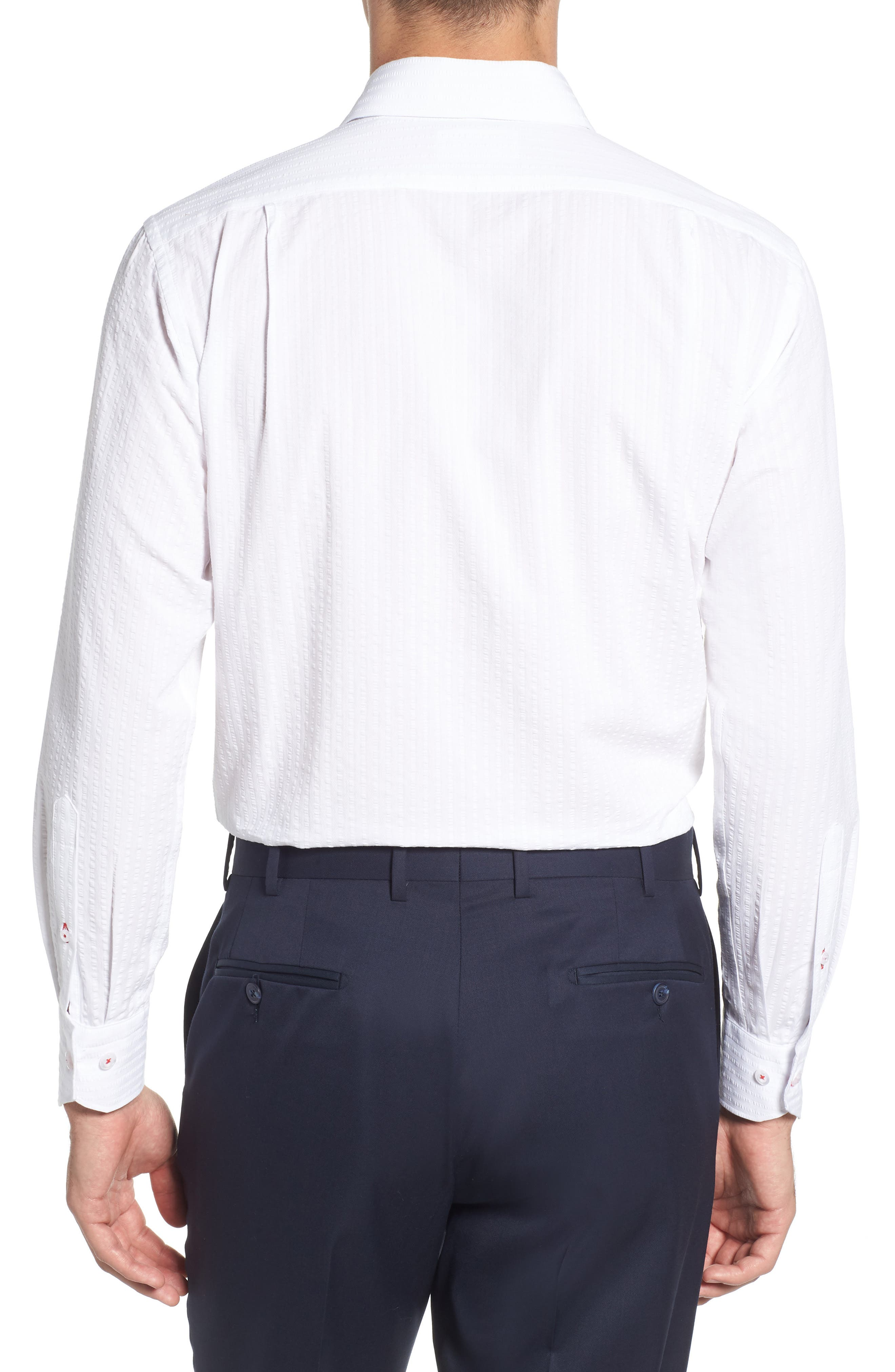 Trim Fit Seersucker Dress Shirt,                             Alternate thumbnail 3, color,                             White