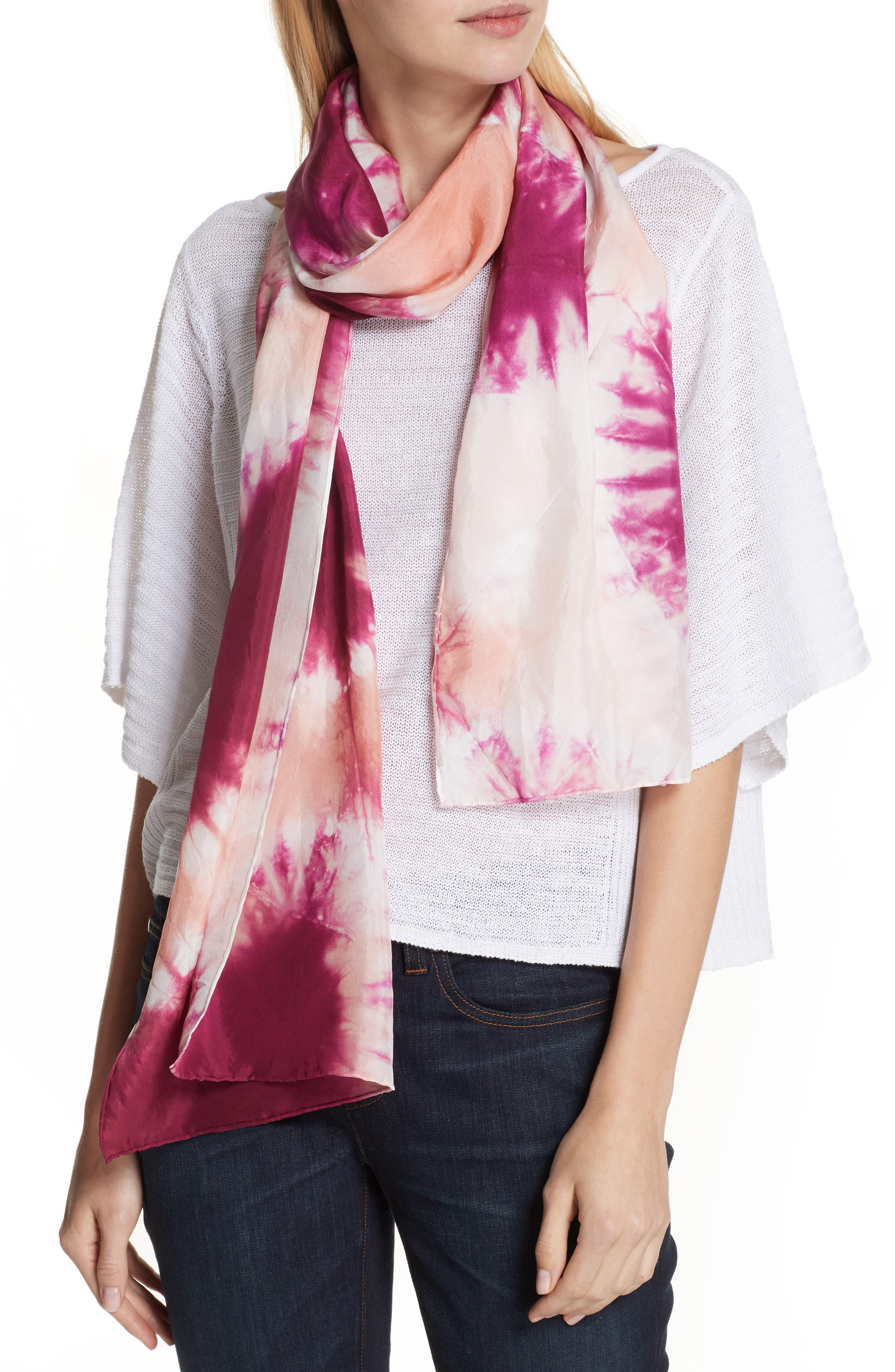 Tie Dye Silk Scarf,                             Alternate thumbnail 2, color,                             Cerise