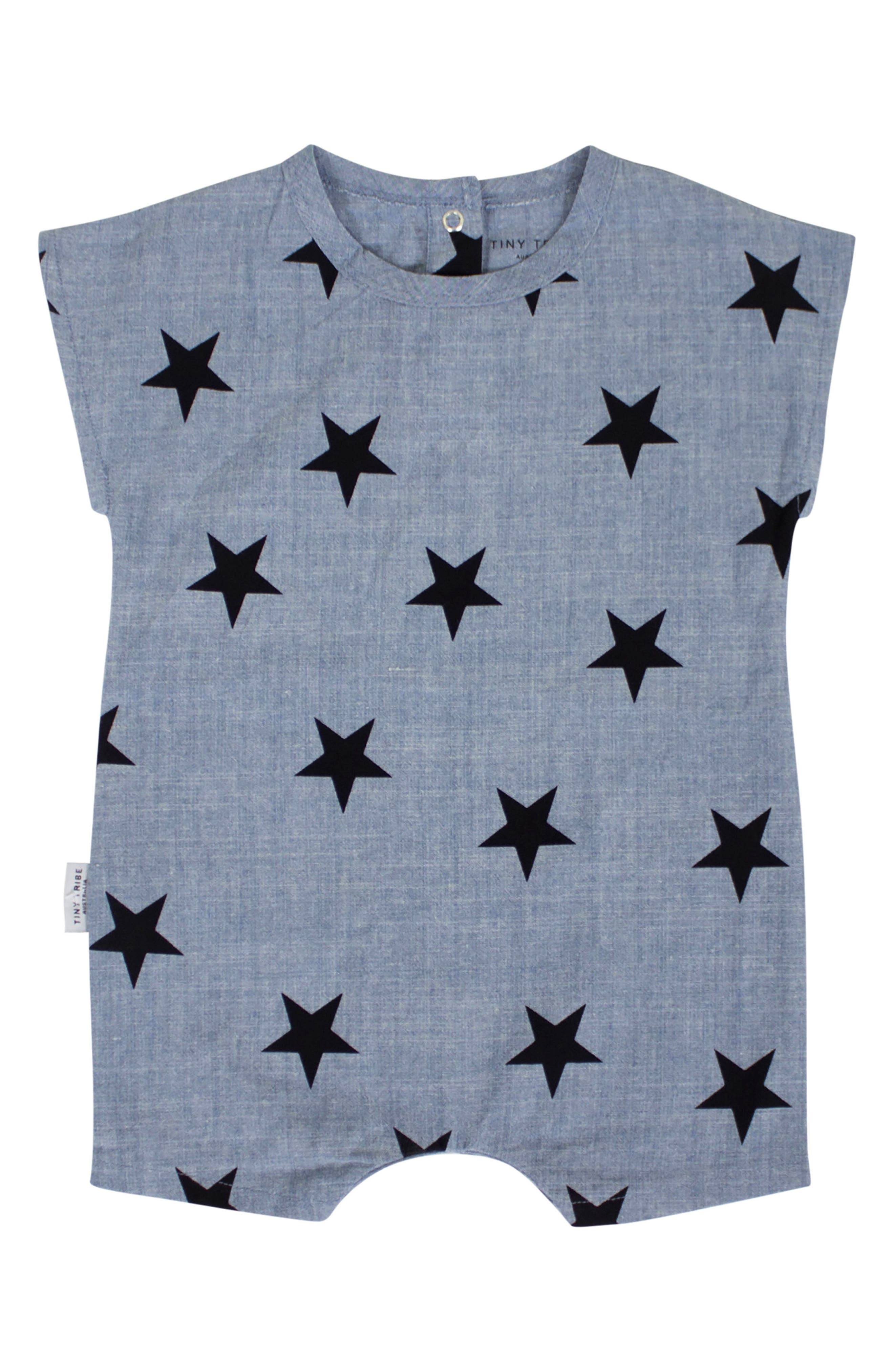 Chambray Star Romper,                         Main,                         color, Chambray