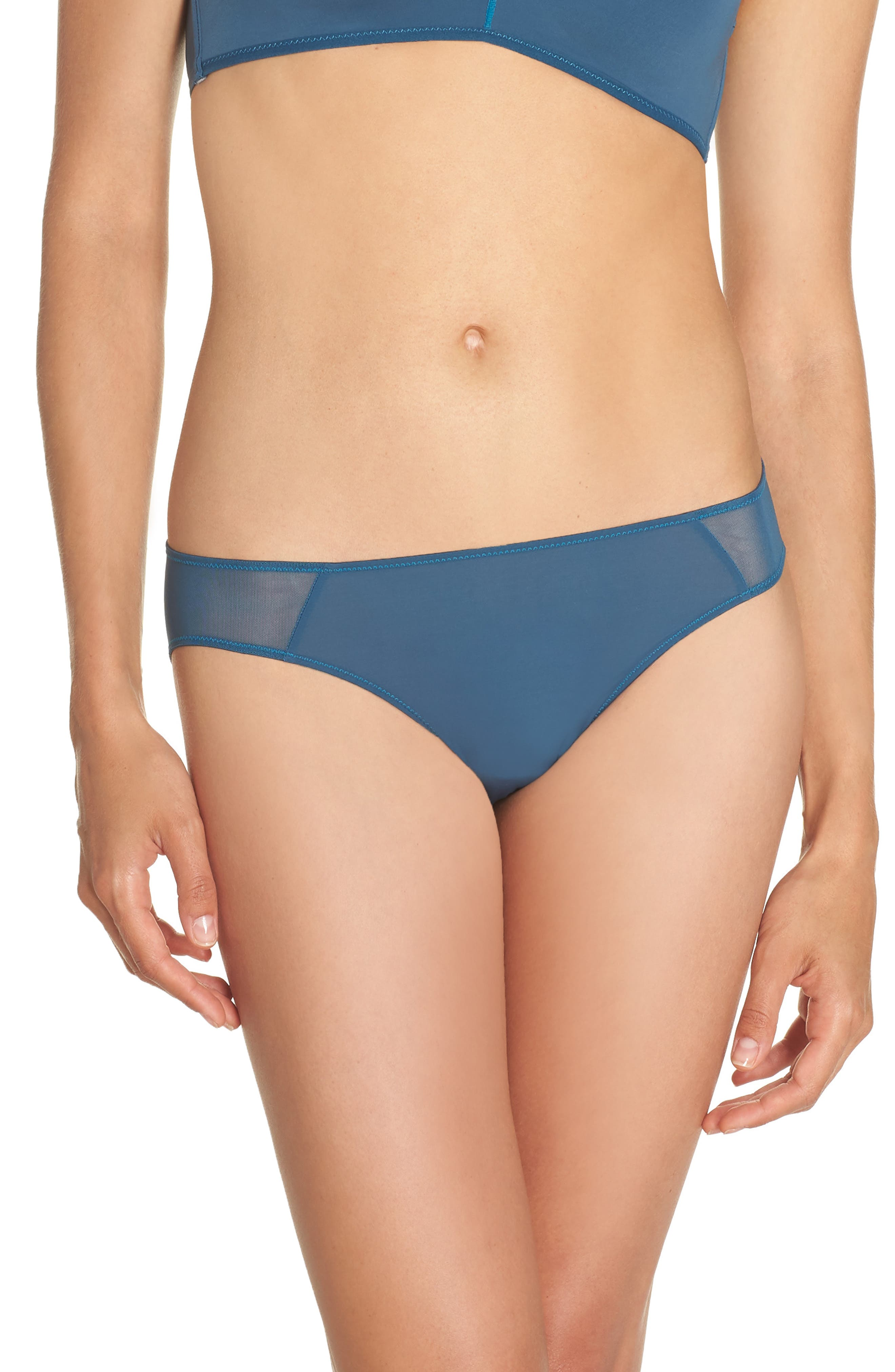 Mesh Trim Bikini,                         Main,                         color, Blue Hematite