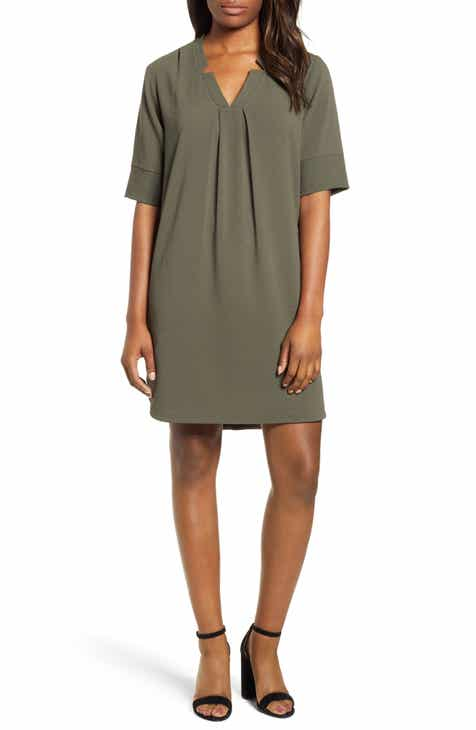 Bobeau Pleat Front Curved Hem Shirtdress (Regular & Petite)