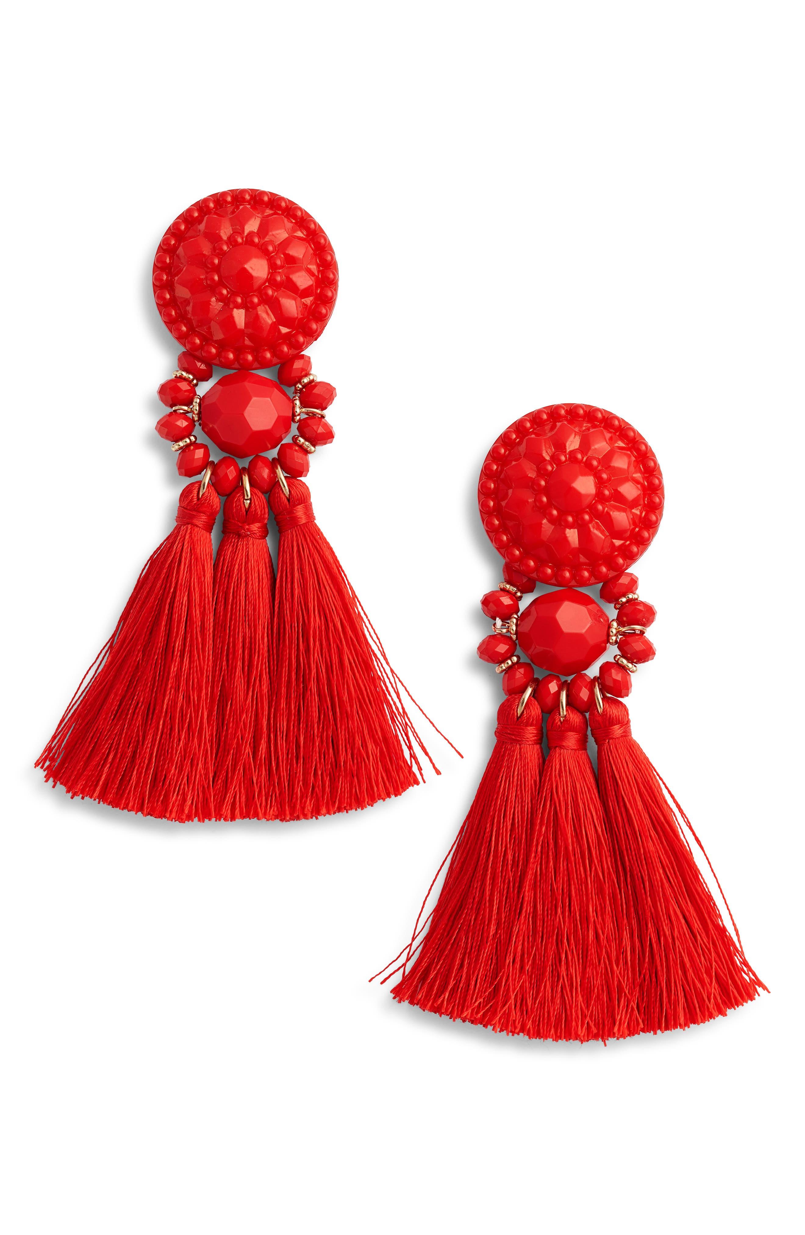 Flower Post Tassel Earrings,                         Main,                         color, Red