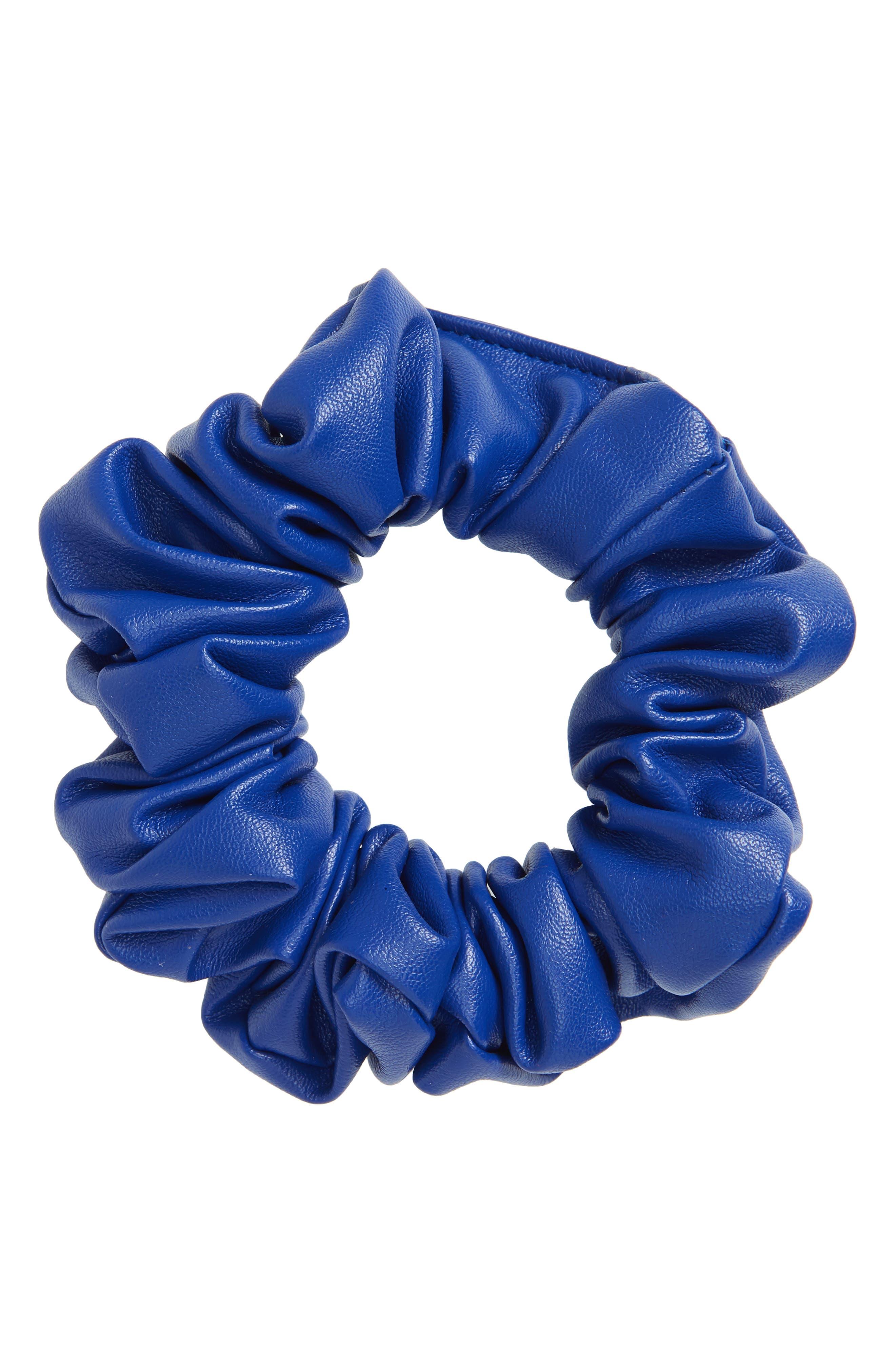 Faux Leather Scrunchie,                             Main thumbnail 1, color,                             Cobalt