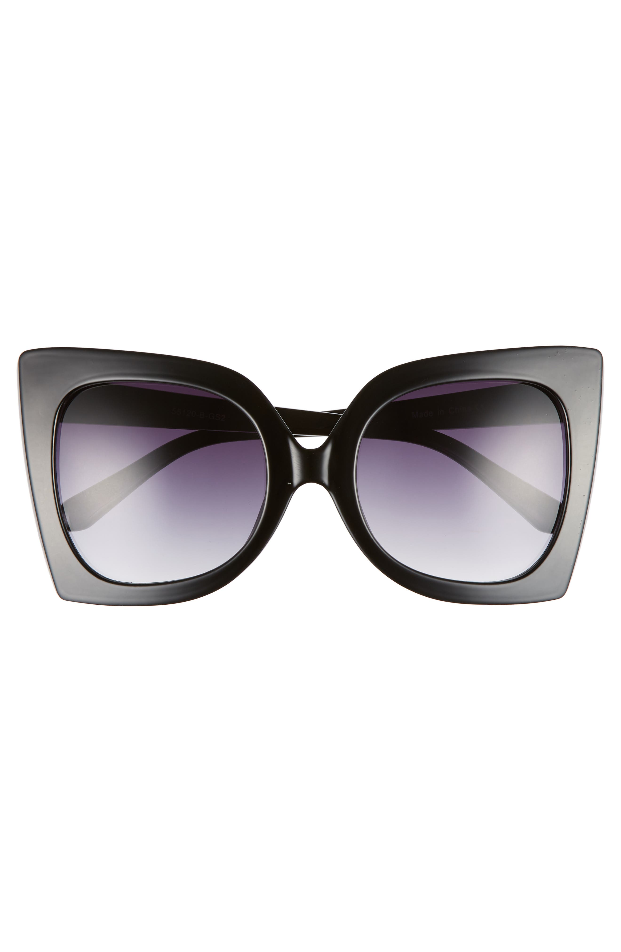 56mm Exaggerated Square Sunglasses,                             Alternate thumbnail 3, color,                             Black