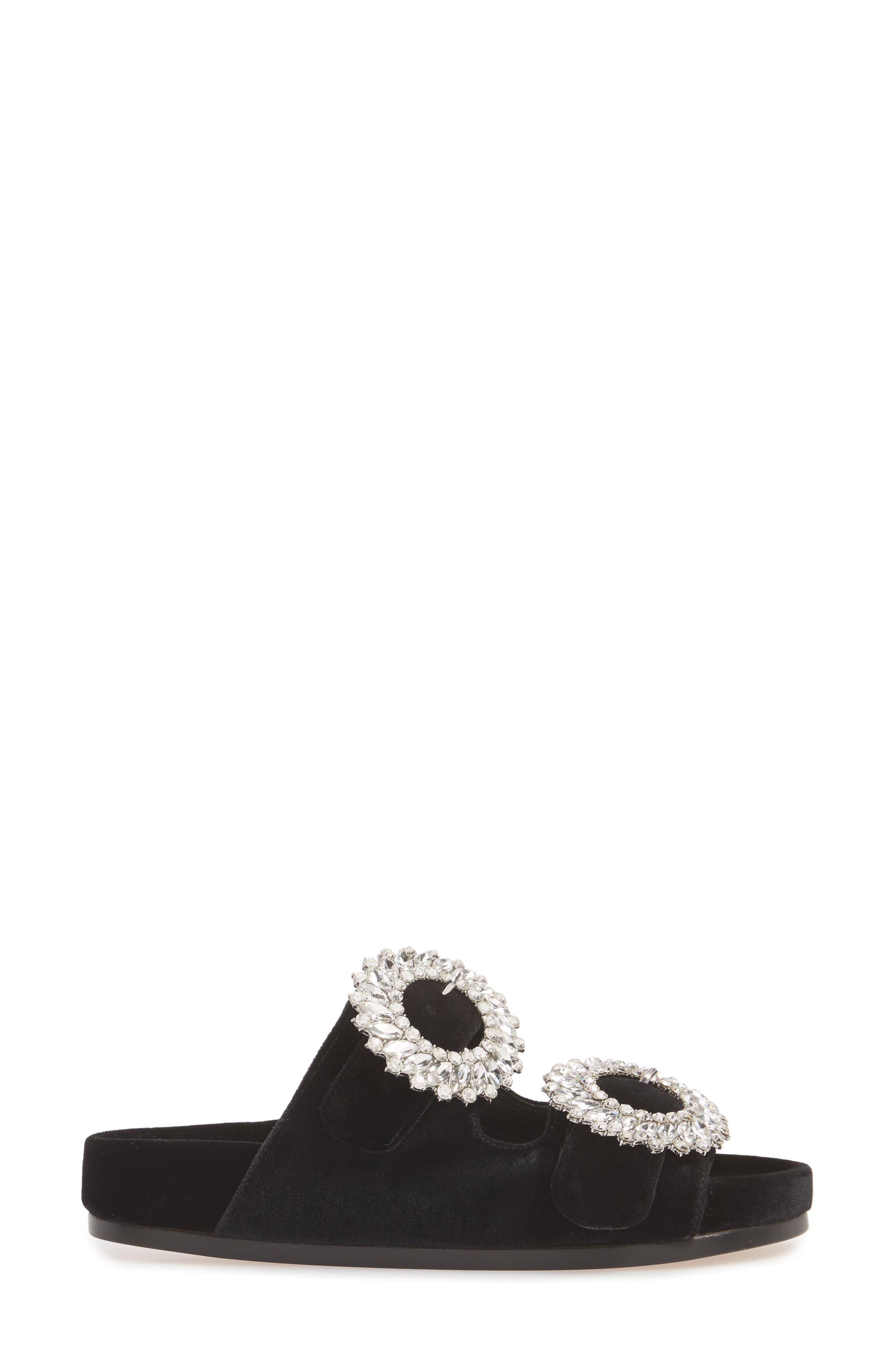 Izaro Embellished Slide Sandal,                             Alternate thumbnail 3, color,                             Black Velvet/ Silver