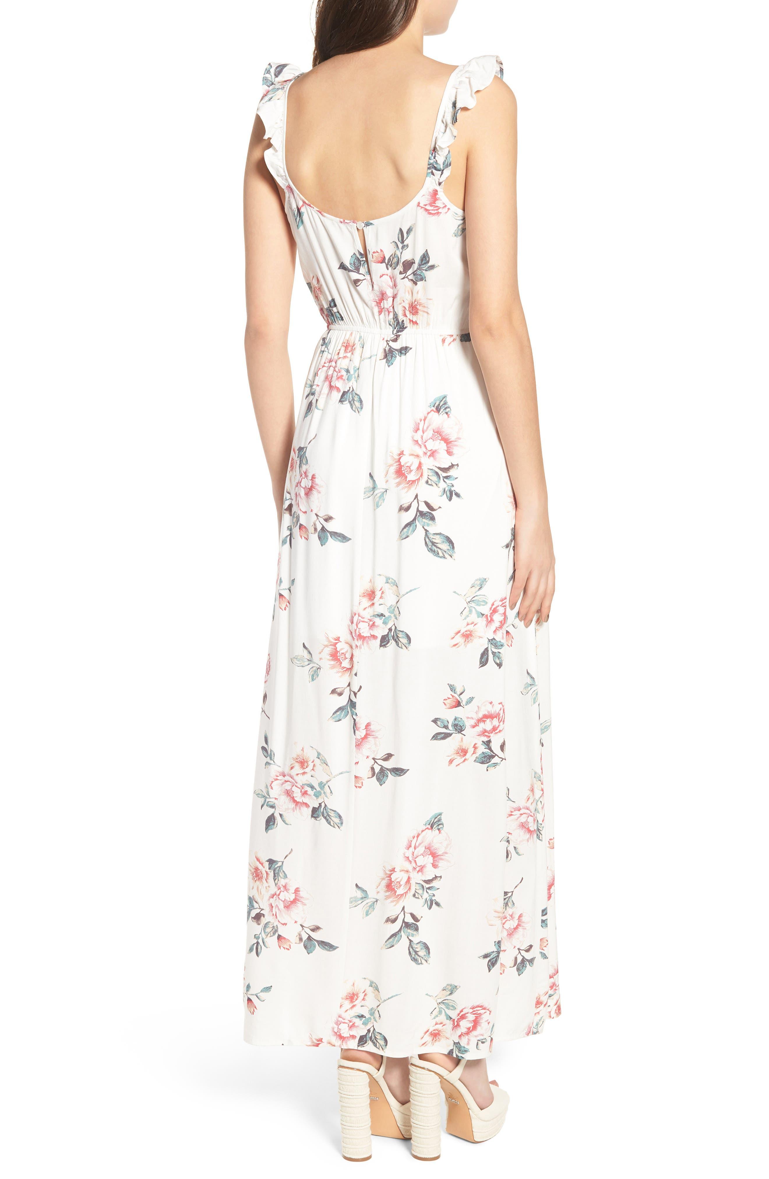 Flutter Sleeve Maxi Dress,                             Alternate thumbnail 2, color,                             Ivory Floral