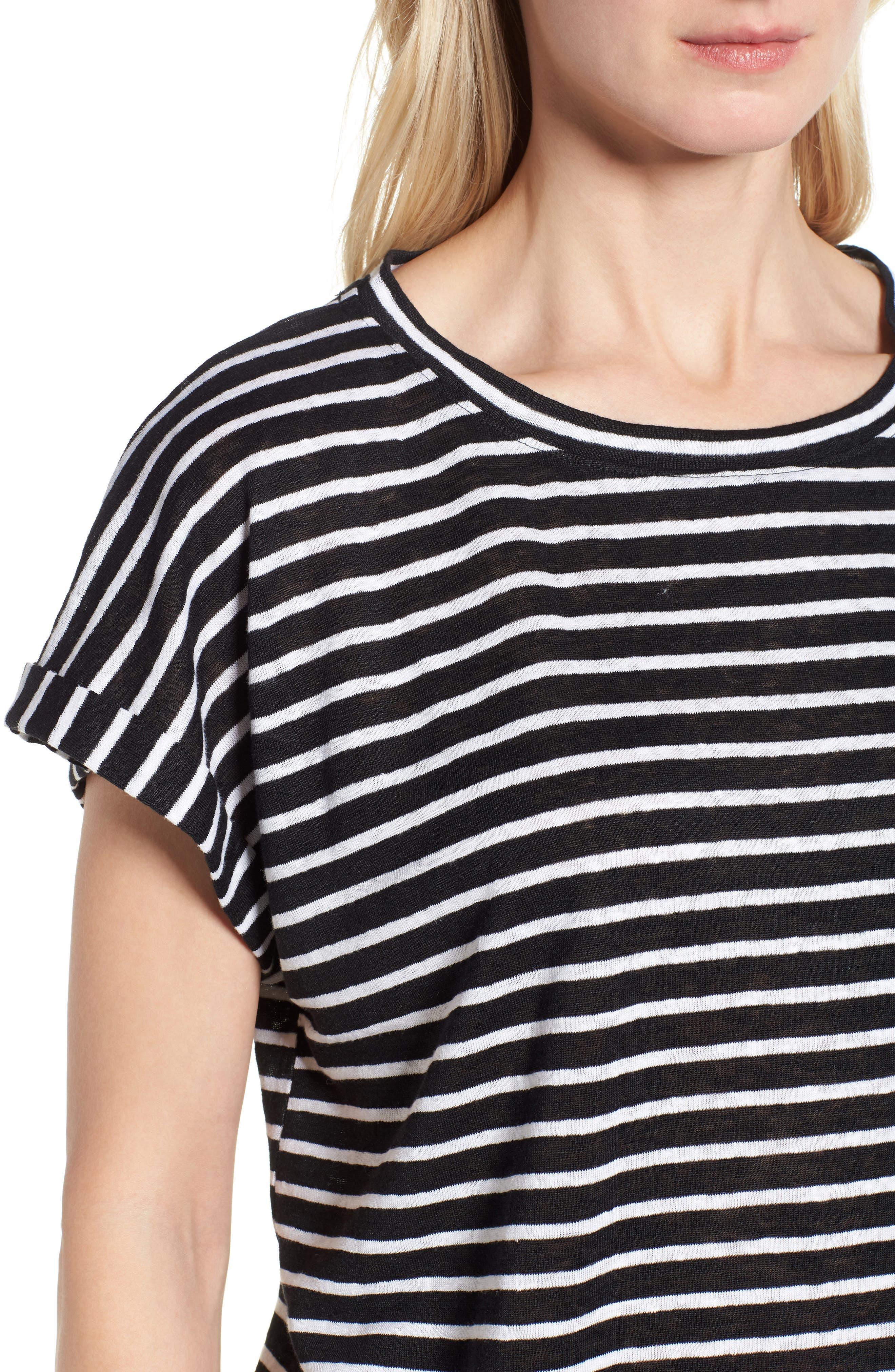 Stripe Boxy Organic Linen Top,                             Alternate thumbnail 4, color,                             Black/ White
