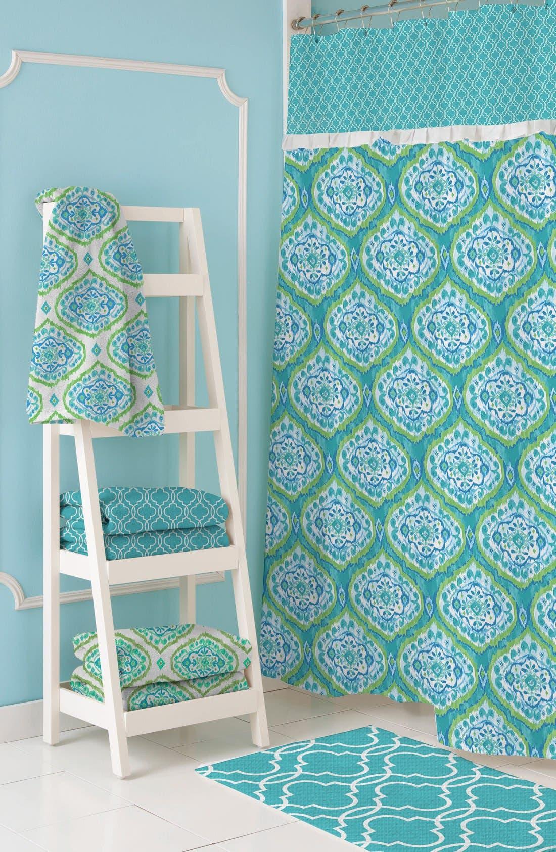 'Tangiers' Shower Curtain,                             Alternate thumbnail 3, color,                             Aqua