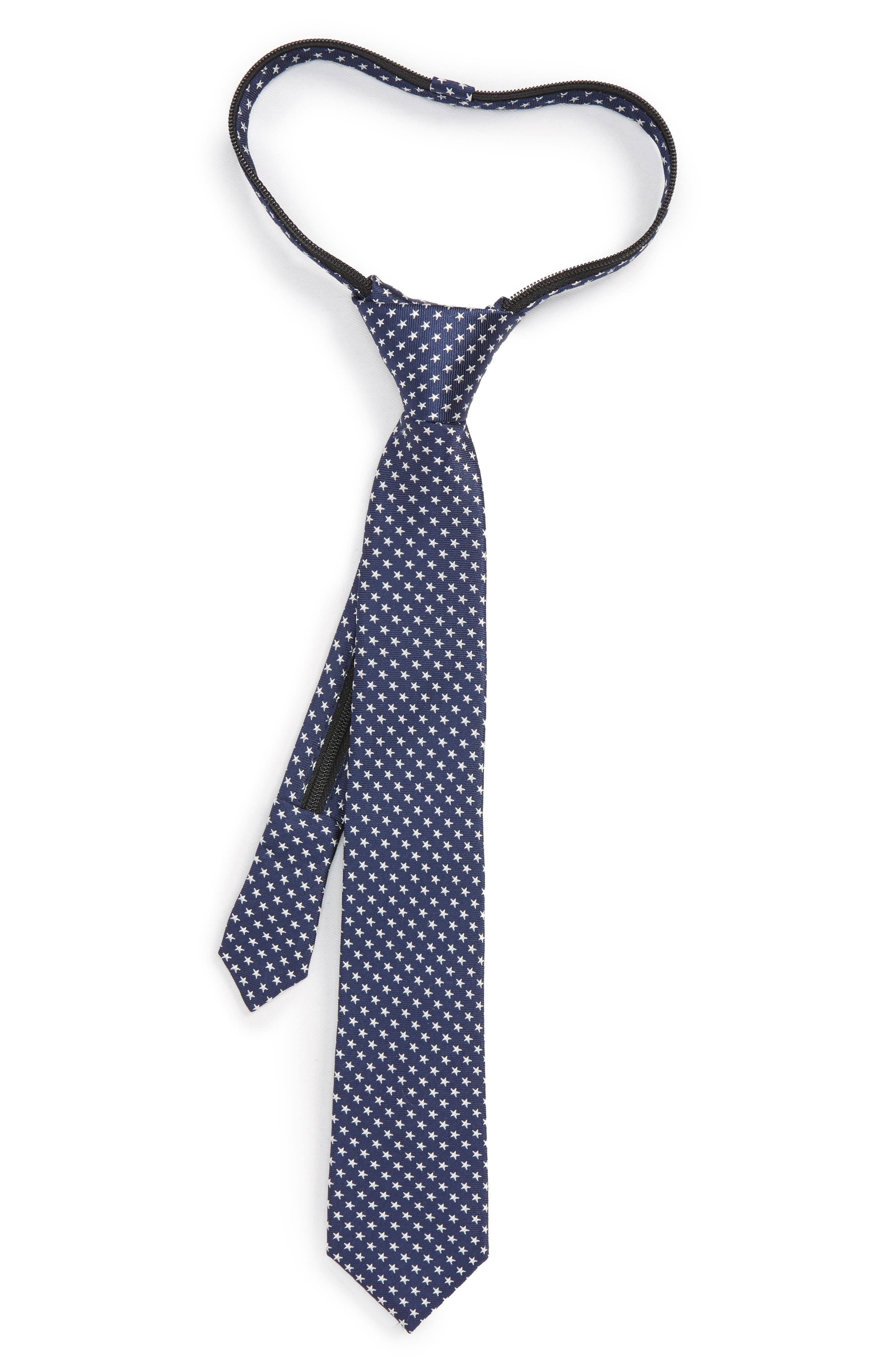 Stella Americana Silk Zip Tie,                         Main,                         color, Navy