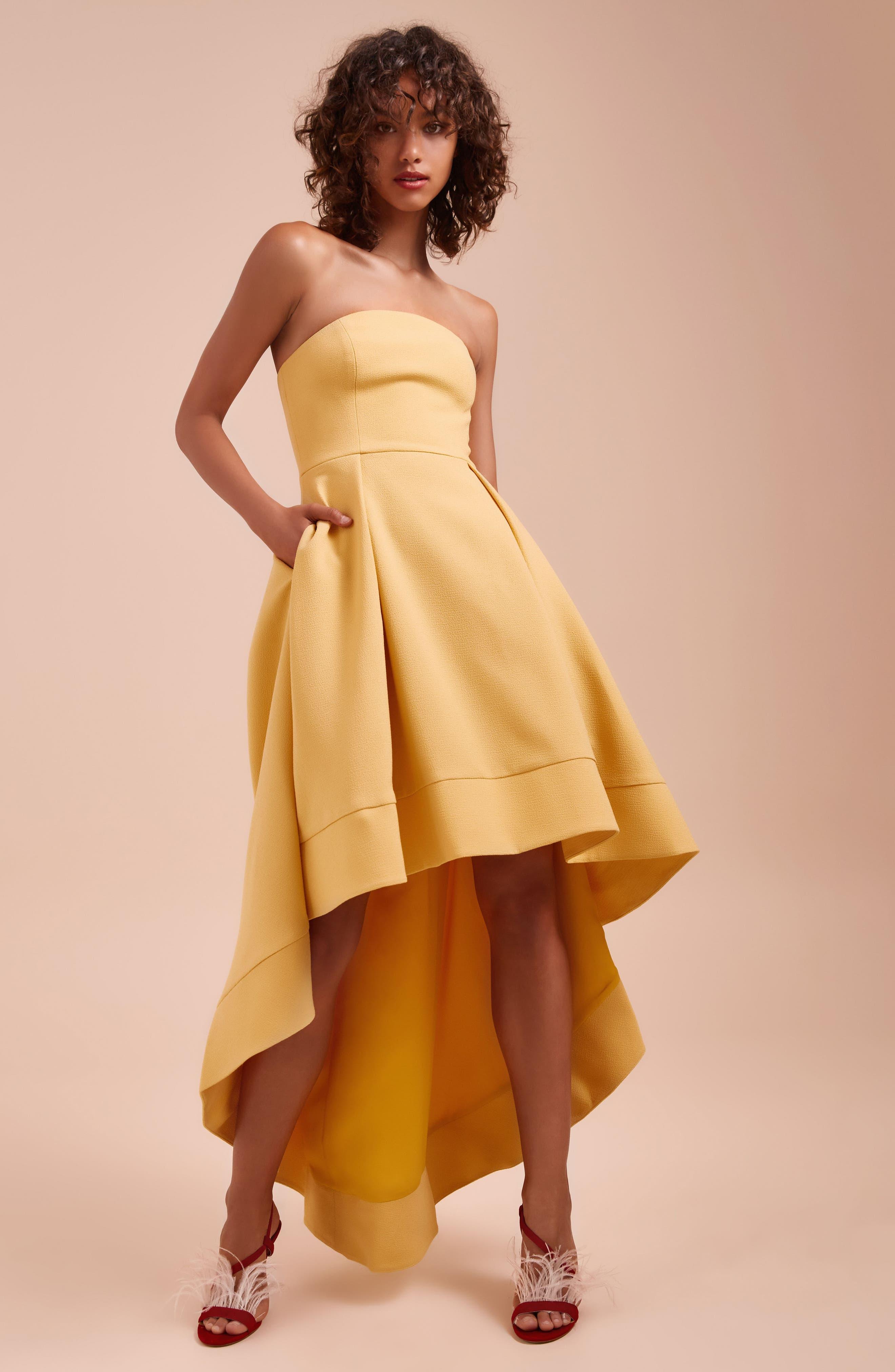 Entice Strapless Crepe Gown,                             Alternate thumbnail 7, color,                             Honey