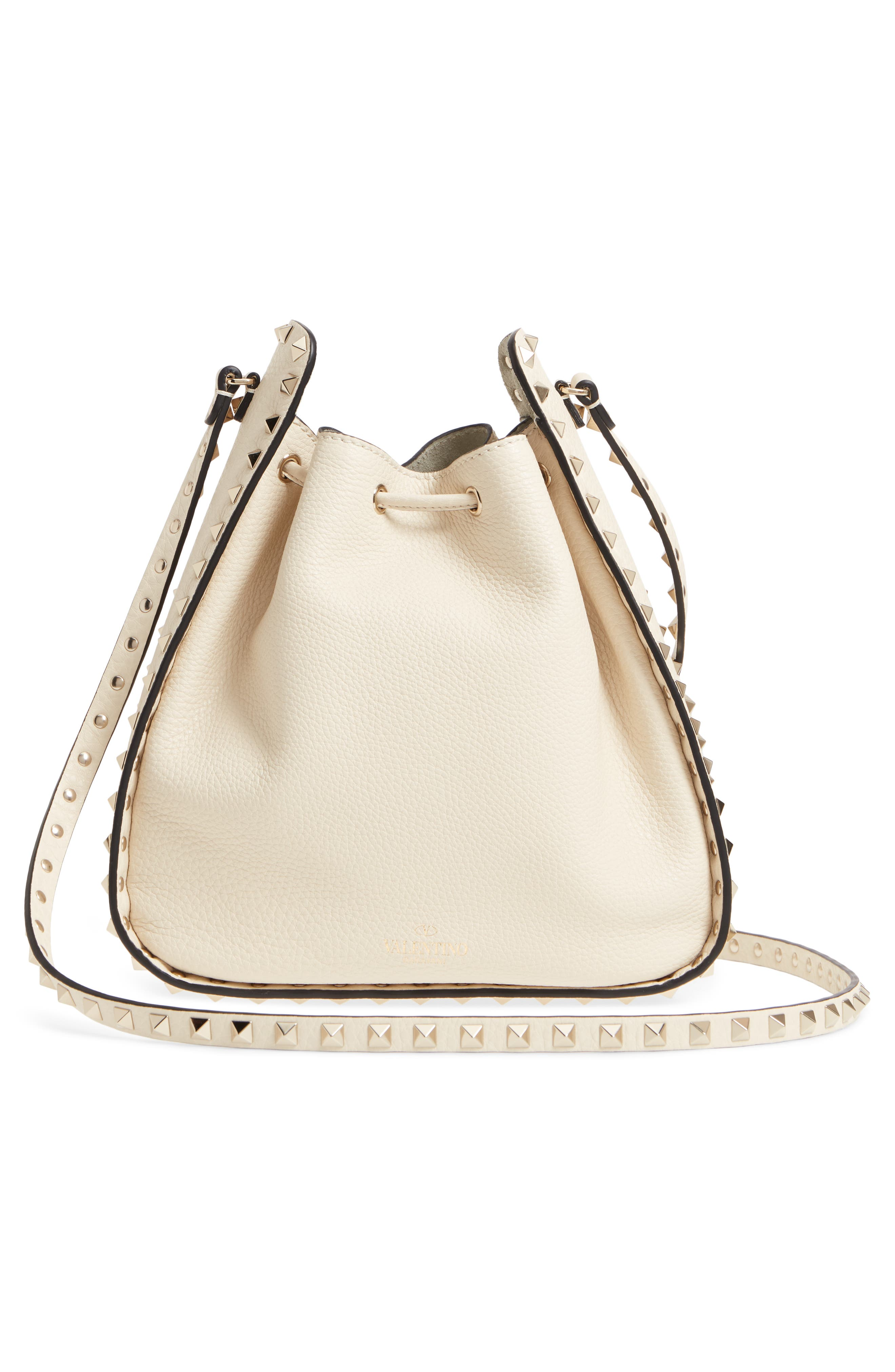 Large Rockstud Leather Bucket Bag,                             Alternate thumbnail 3, color,                             Ivory/ Gold