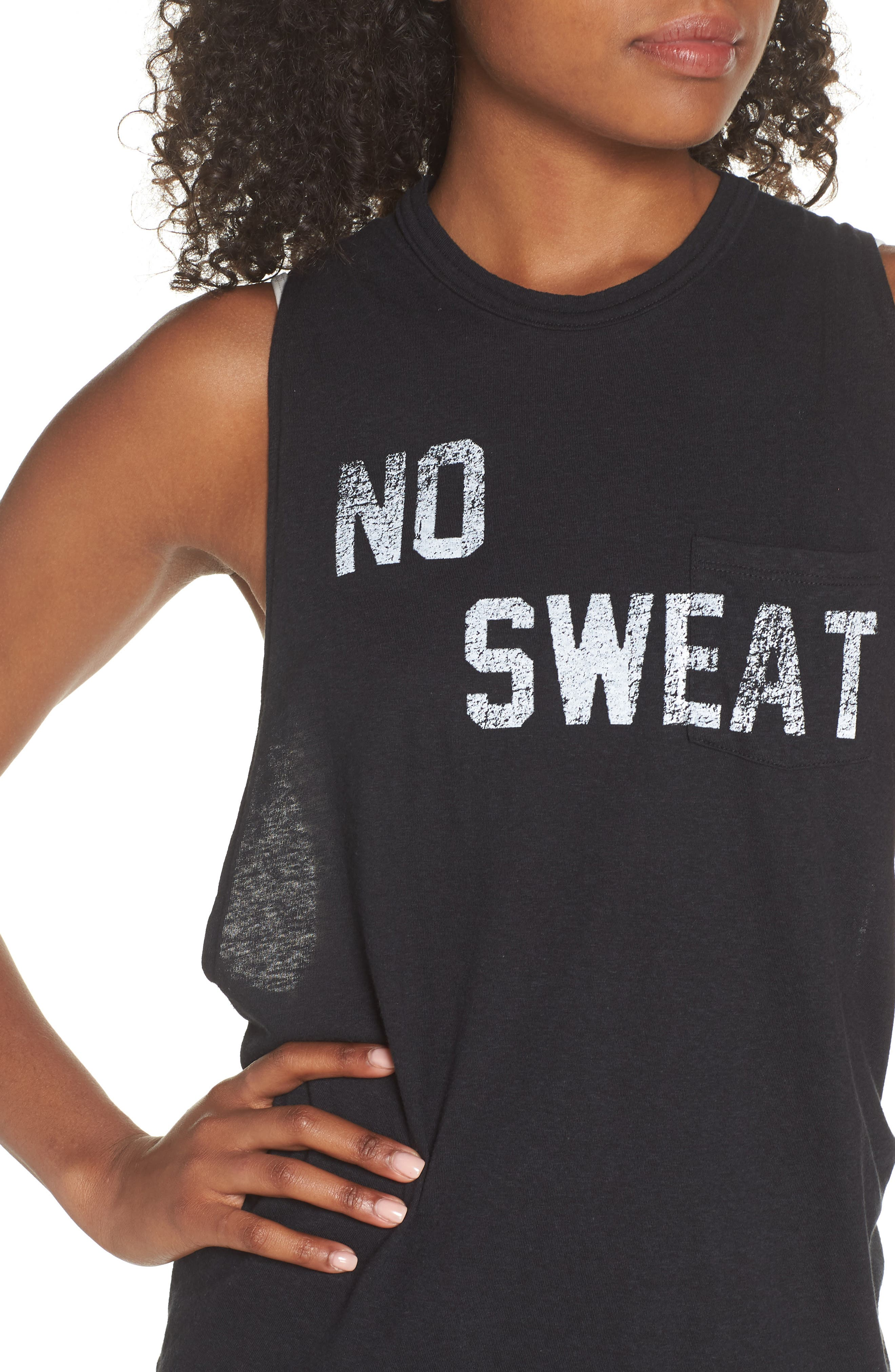 Free People No Sweat Cross Back Tank,                             Alternate thumbnail 4, color,                             Onyx