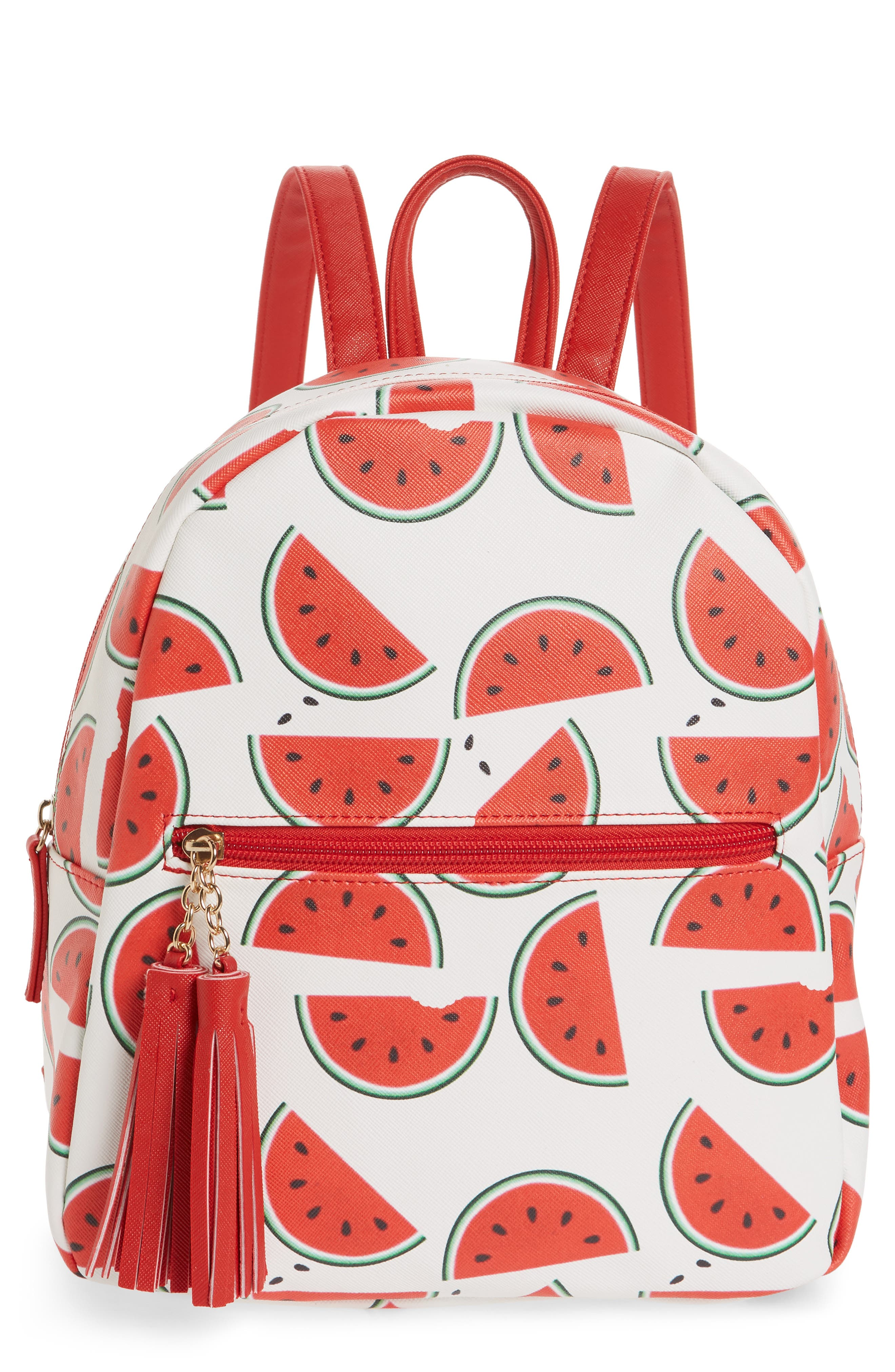 Mini Watermelon Print Backpack,                         Main,                         color, White