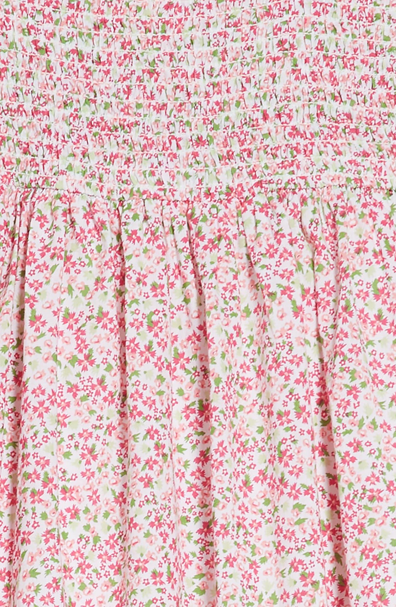 Smocked Ditzy Dress,                             Alternate thumbnail 3, color,                             White- Pink Dense Floral