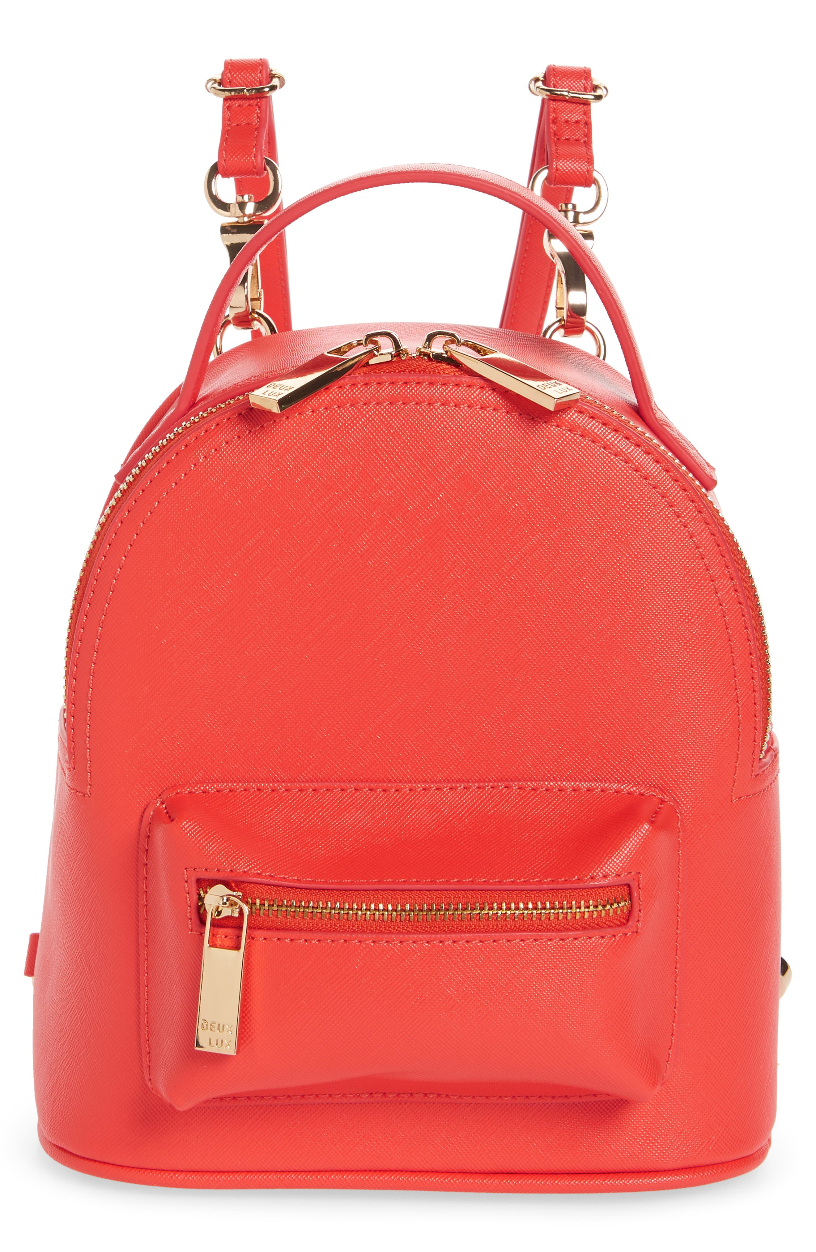 Annabelle Mini Faux Leather Backpack,                             Main thumbnail 1, color,                             Poppy