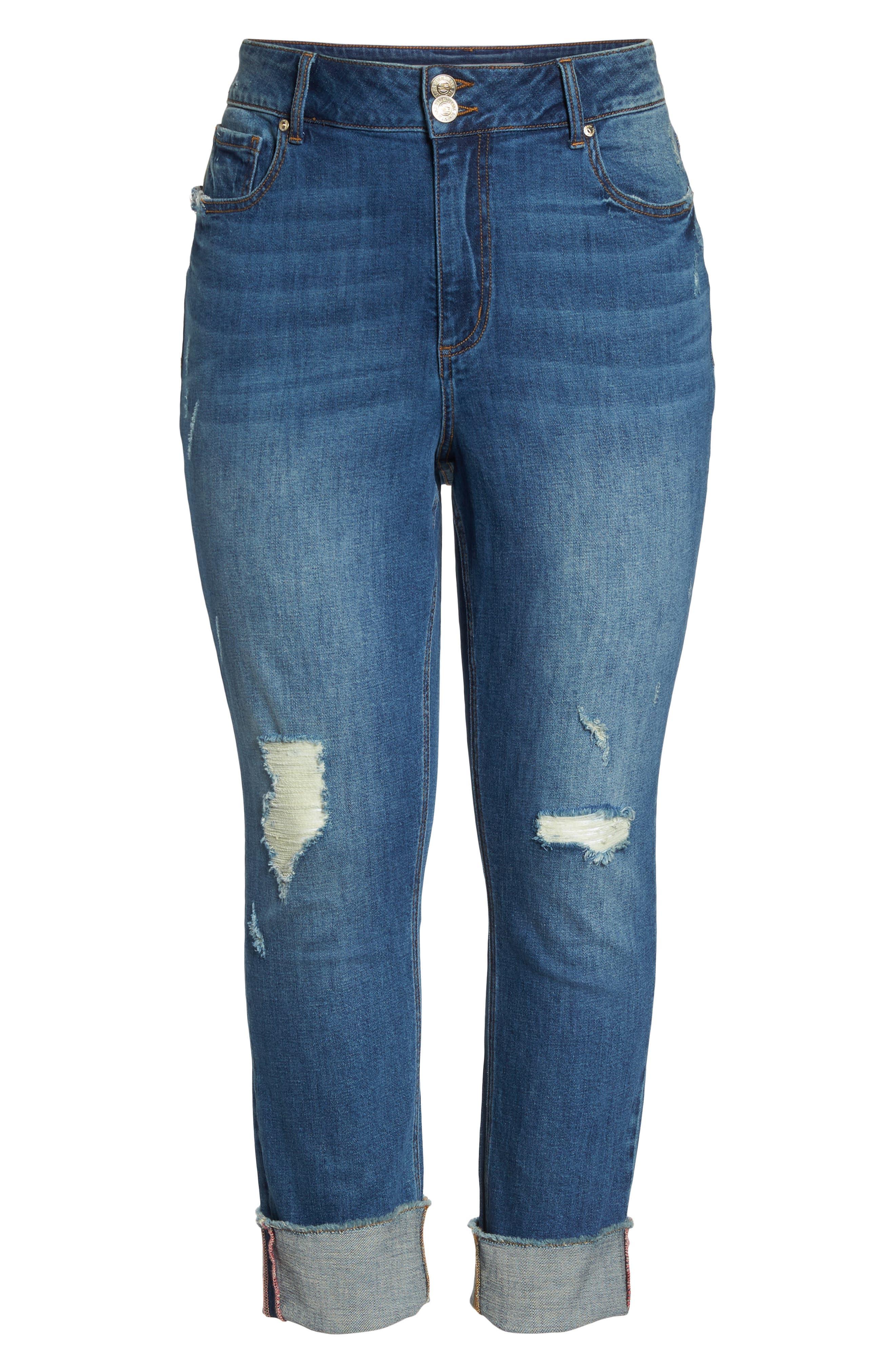 Distressed Slim Raw Hem Cuffed Jeans,                             Alternate thumbnail 6, color,                             Blue