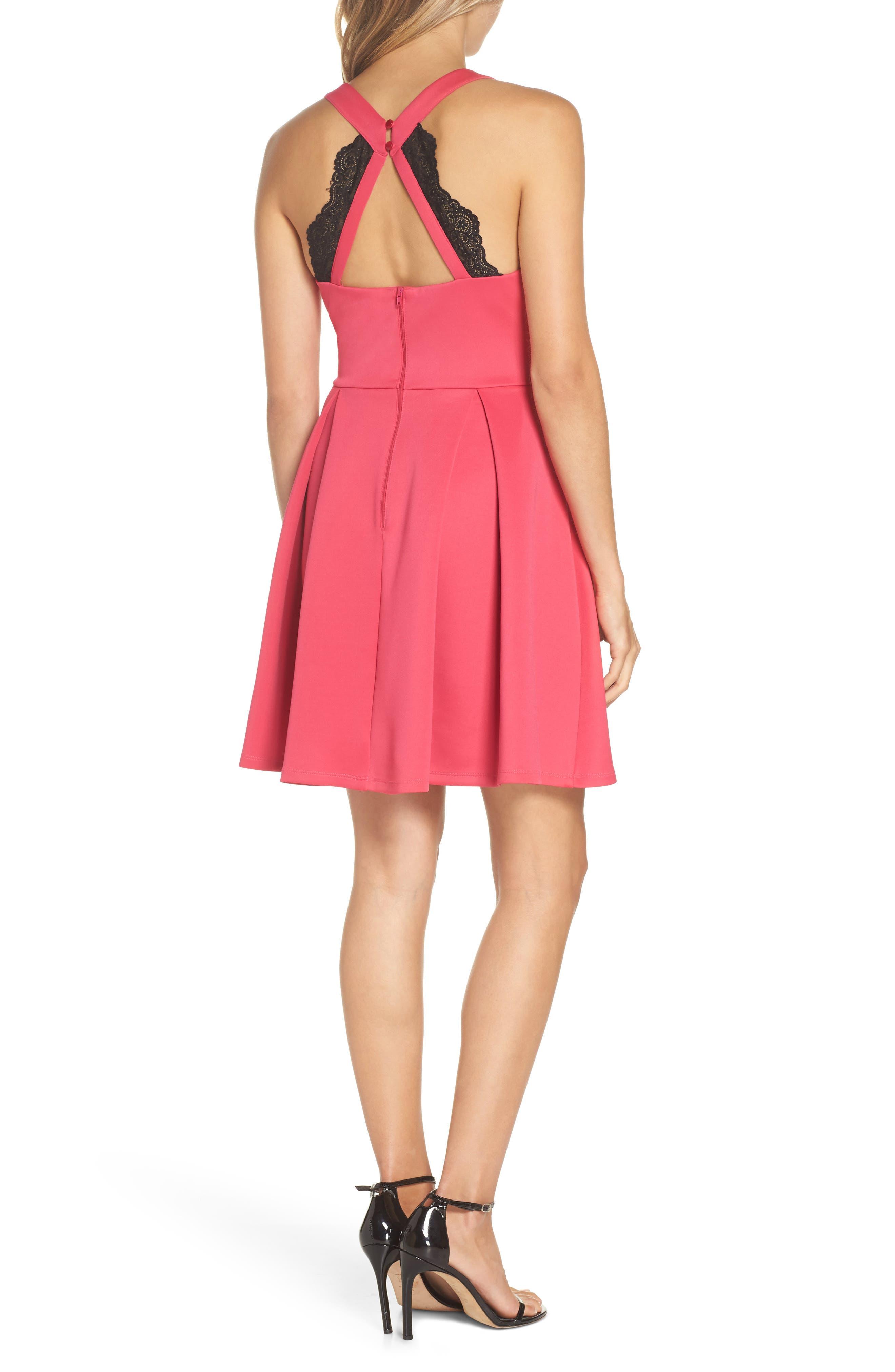 Lace Back Scuba Dress,                             Alternate thumbnail 2, color,                             Hot Pink/ Black