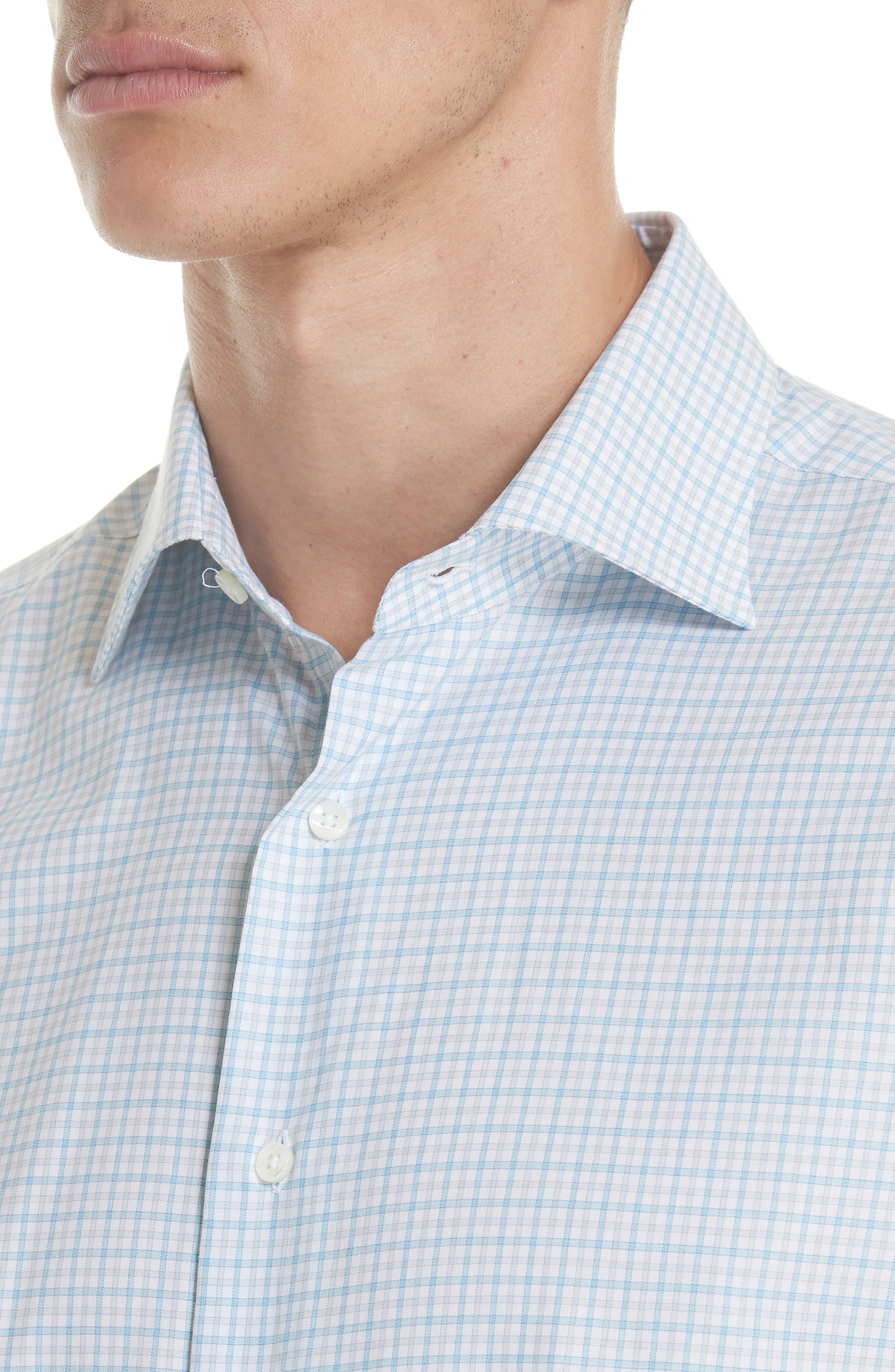 Regular Fit Check Dress Shirt,                             Alternate thumbnail 2, color,                             Turquoise