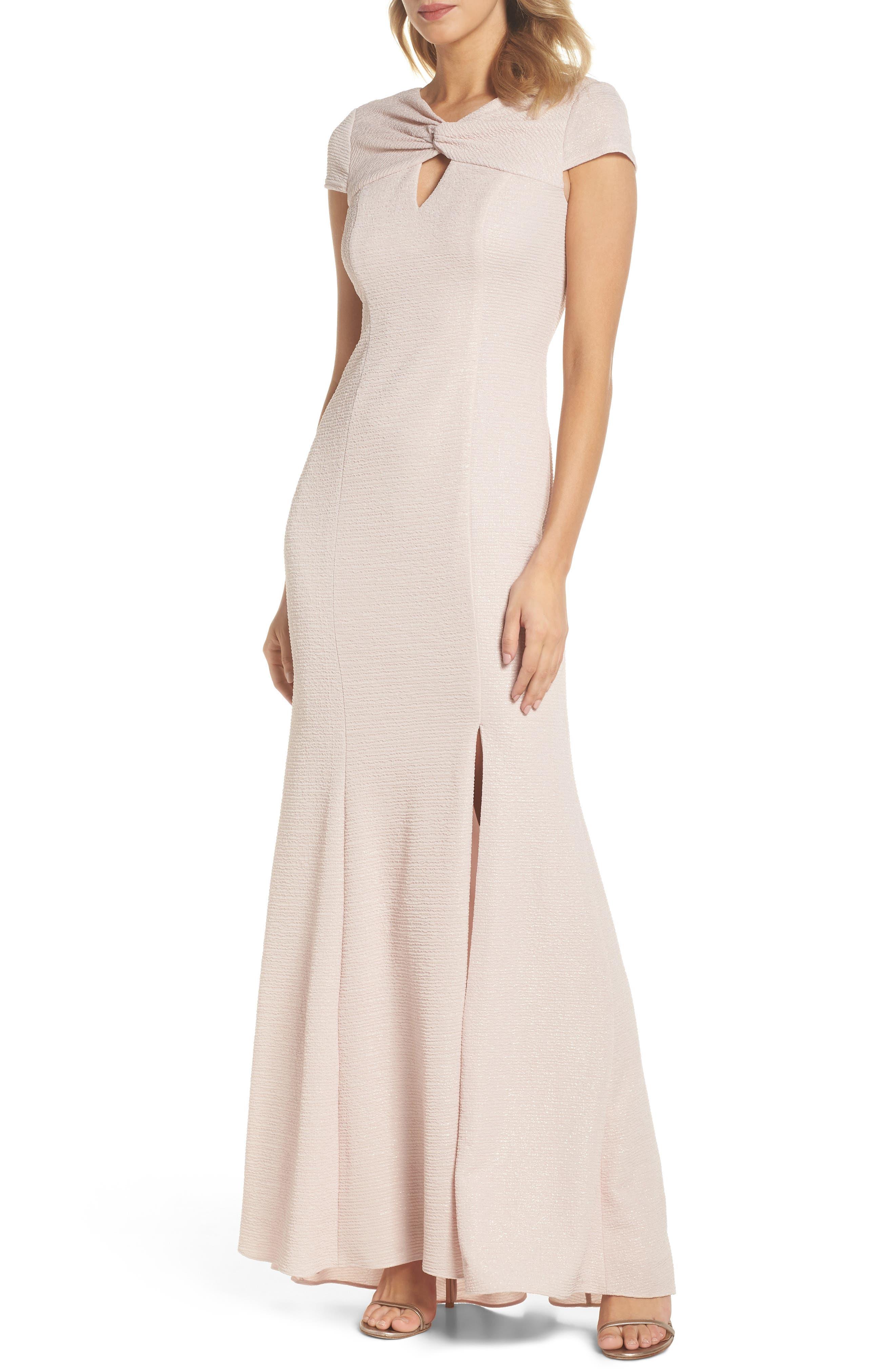 Metallic Knit Gown,                         Main,                         color, Blush