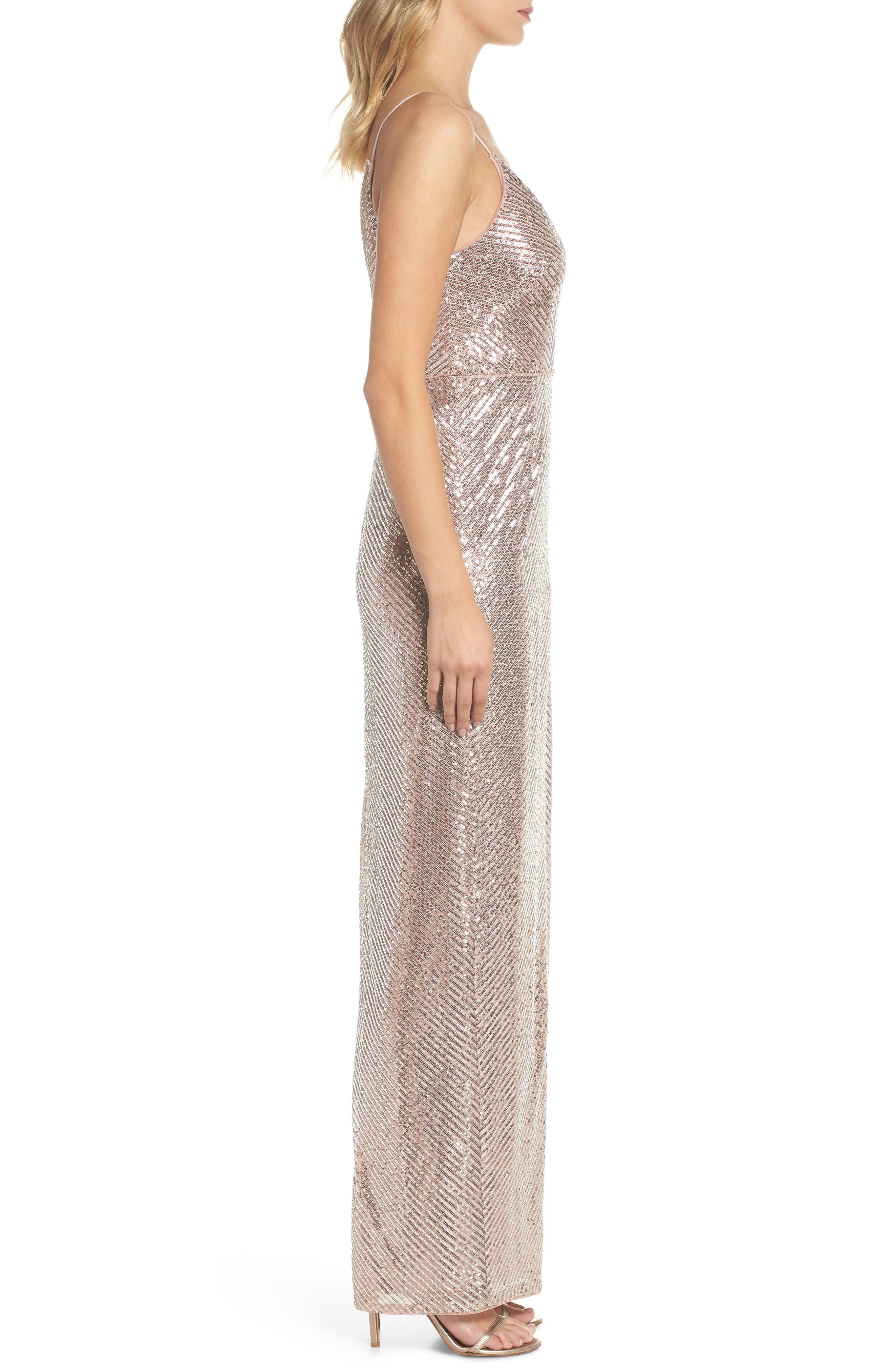 Stripe Sequin Gown,                             Alternate thumbnail 3, color,                             Rose Gold