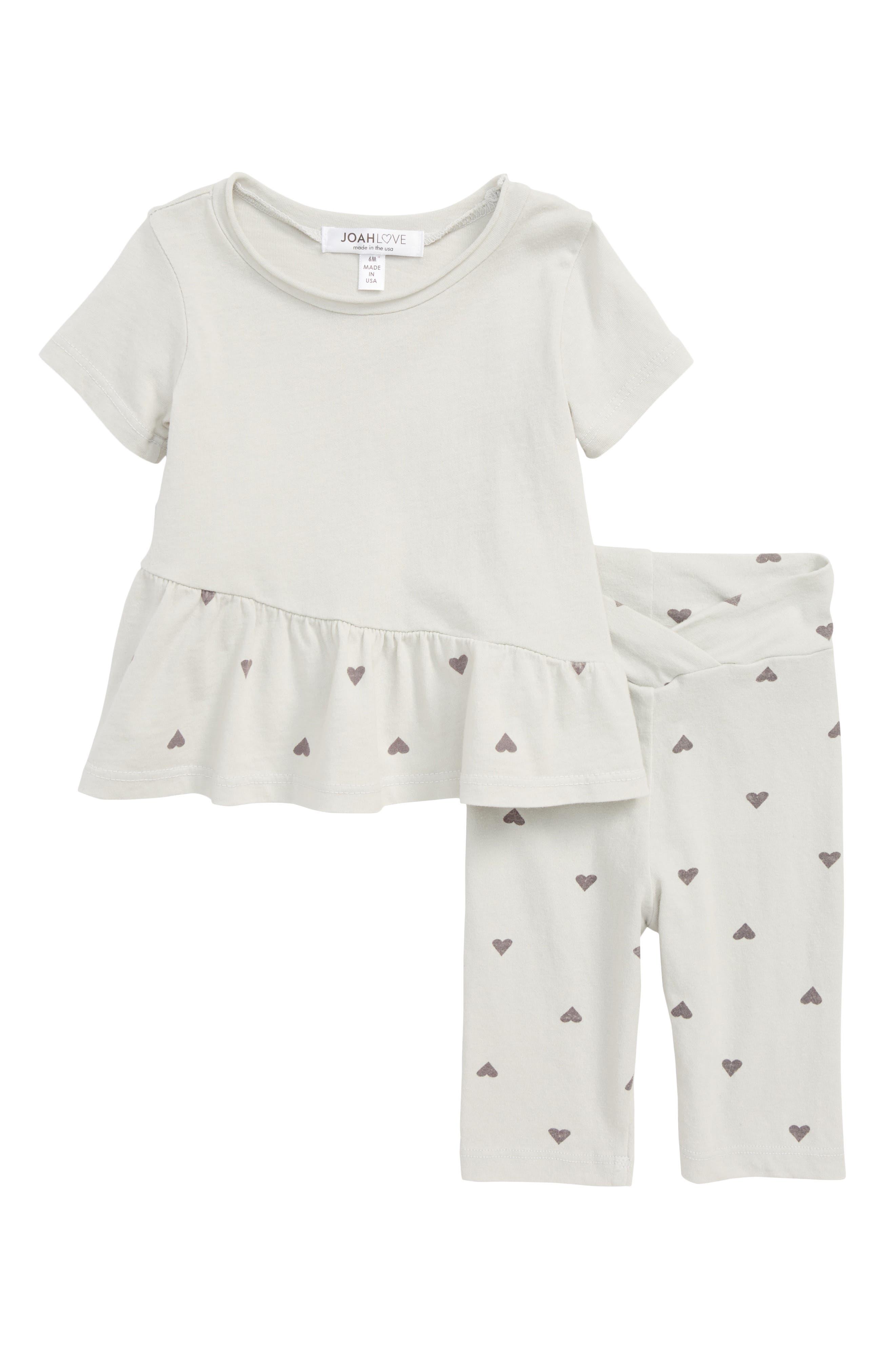 Joah Heart Print Top & Leggings Set (Baby Girls)