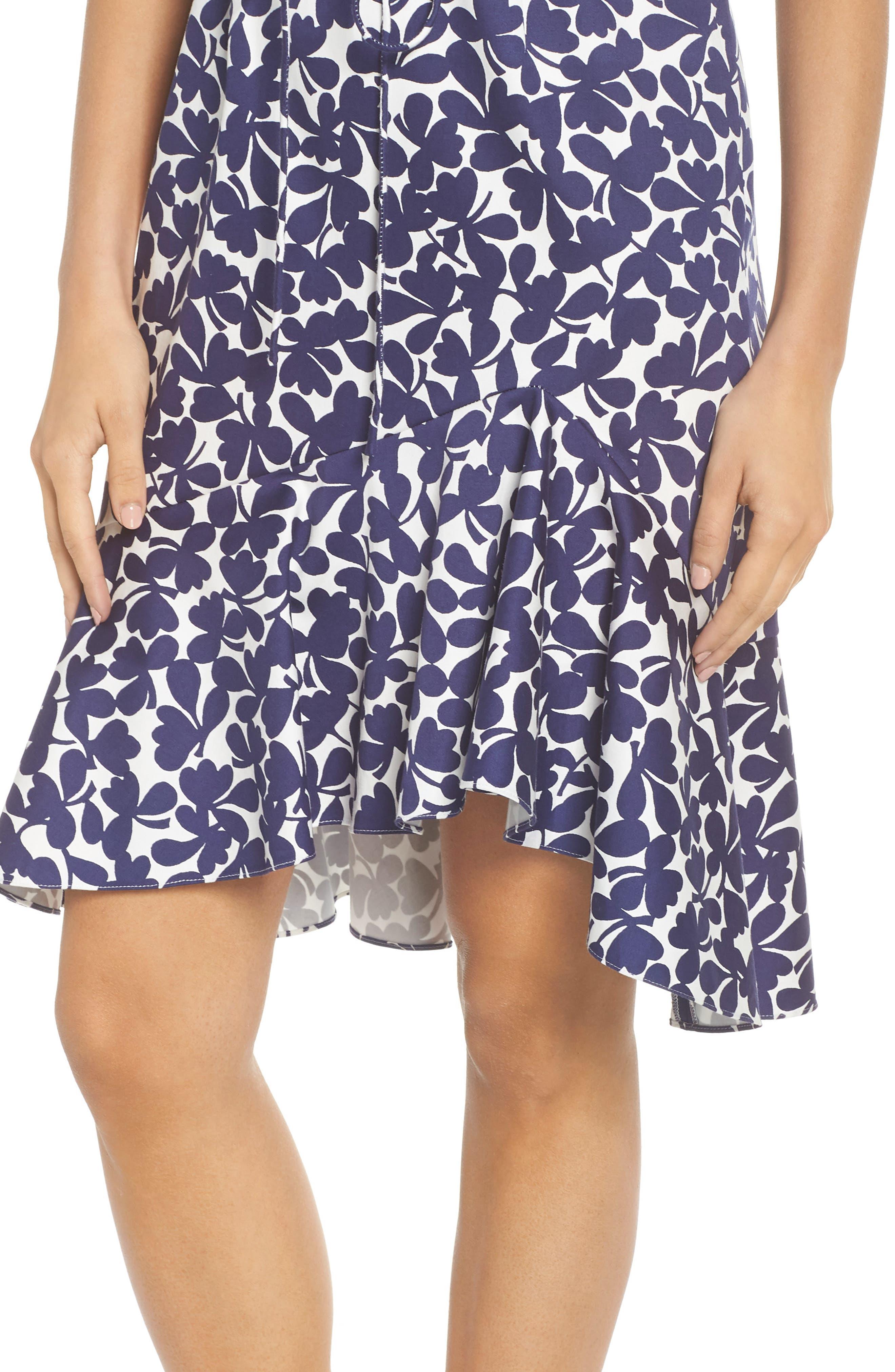 Lady Luck Print Cotton Sateen Dress,                             Alternate thumbnail 4, color,                             Navy/ Ivory