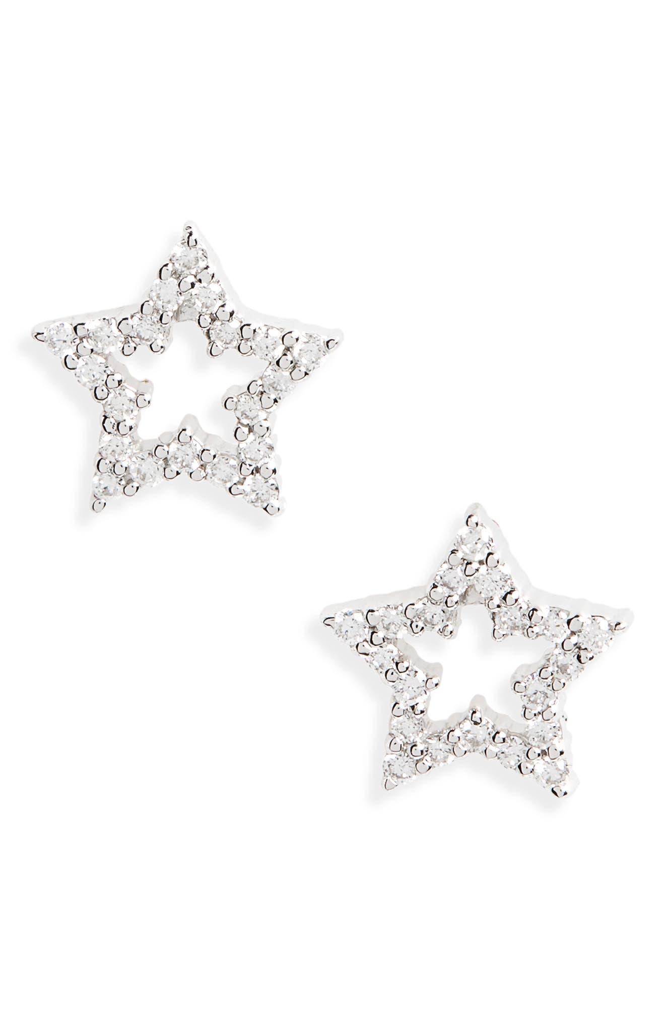 Diamond Star Stud Earrings,                         Main,                         color, White Gold