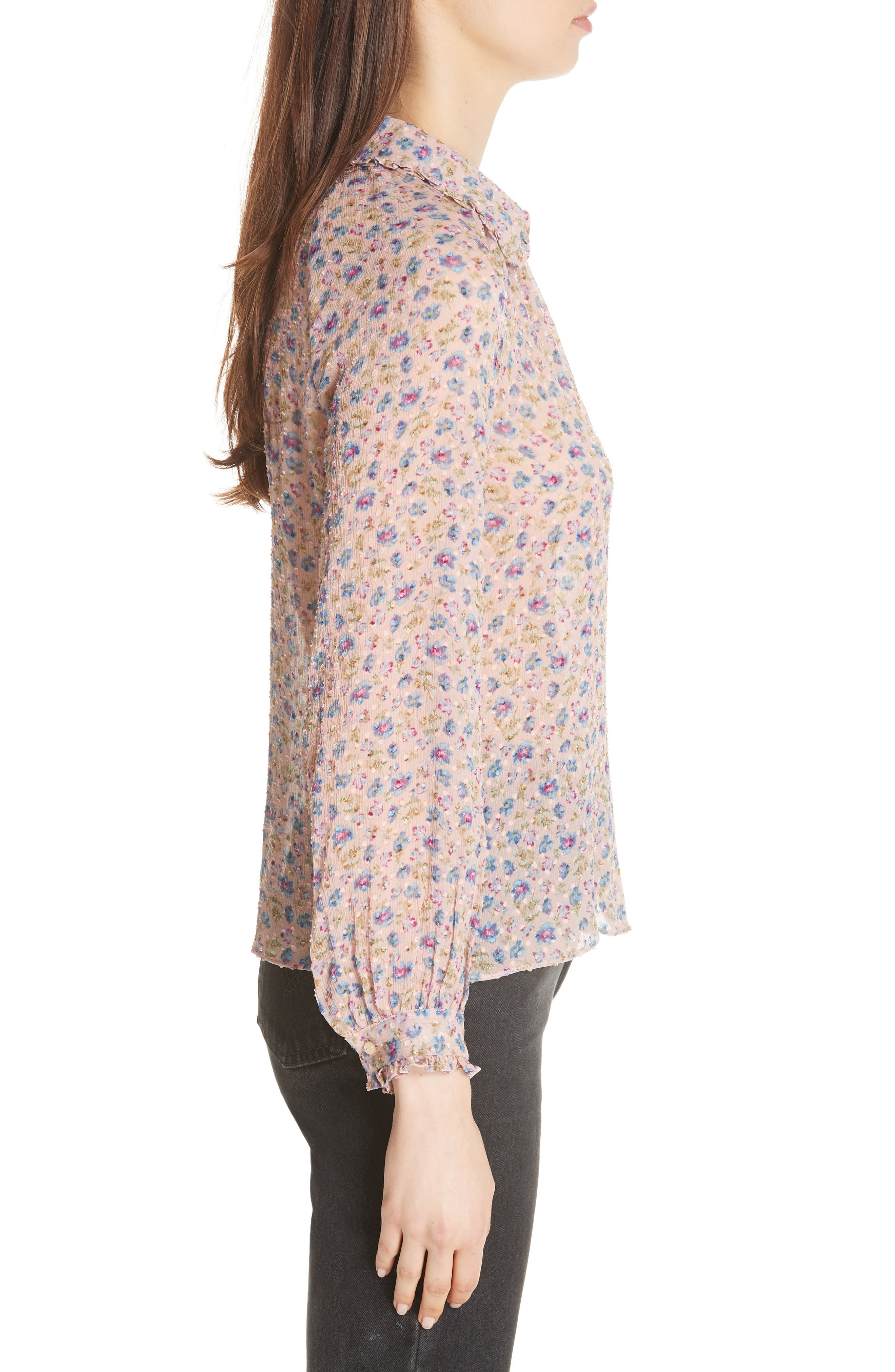 Zelma Floral Top,                             Alternate thumbnail 3, color,                             Nude Combo