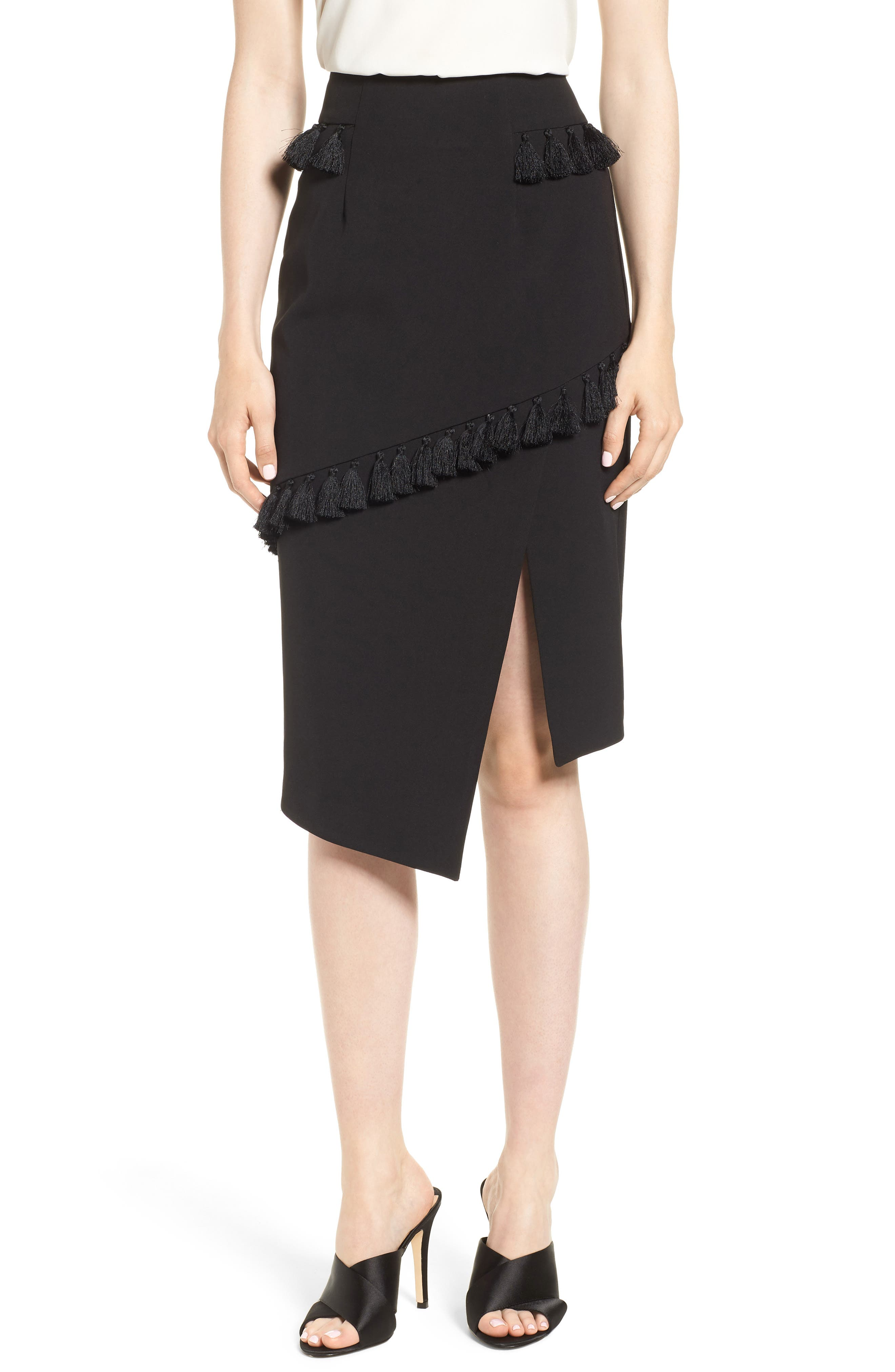 ELLIATT TASSEL TRIM ASYMMETRICAL SKIRT