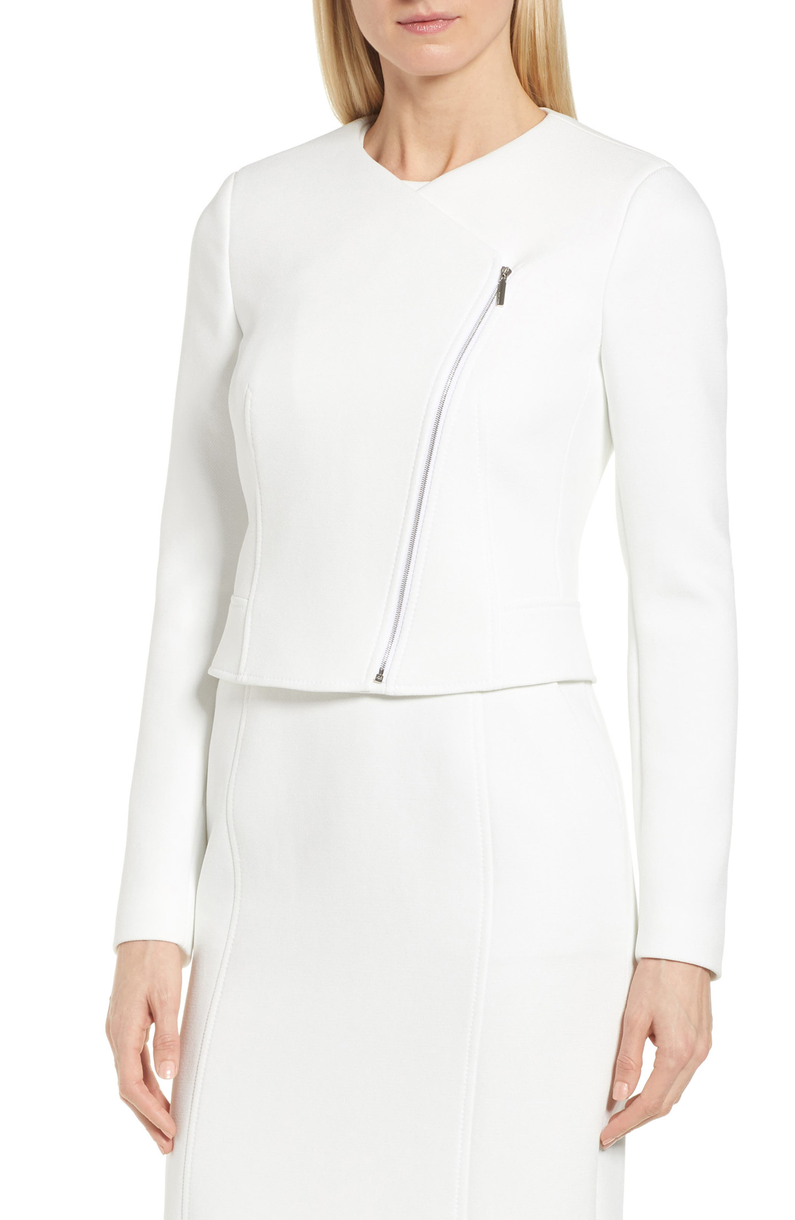 BOSS Juleama Compact Twill Asymmetrical Zip Jacket