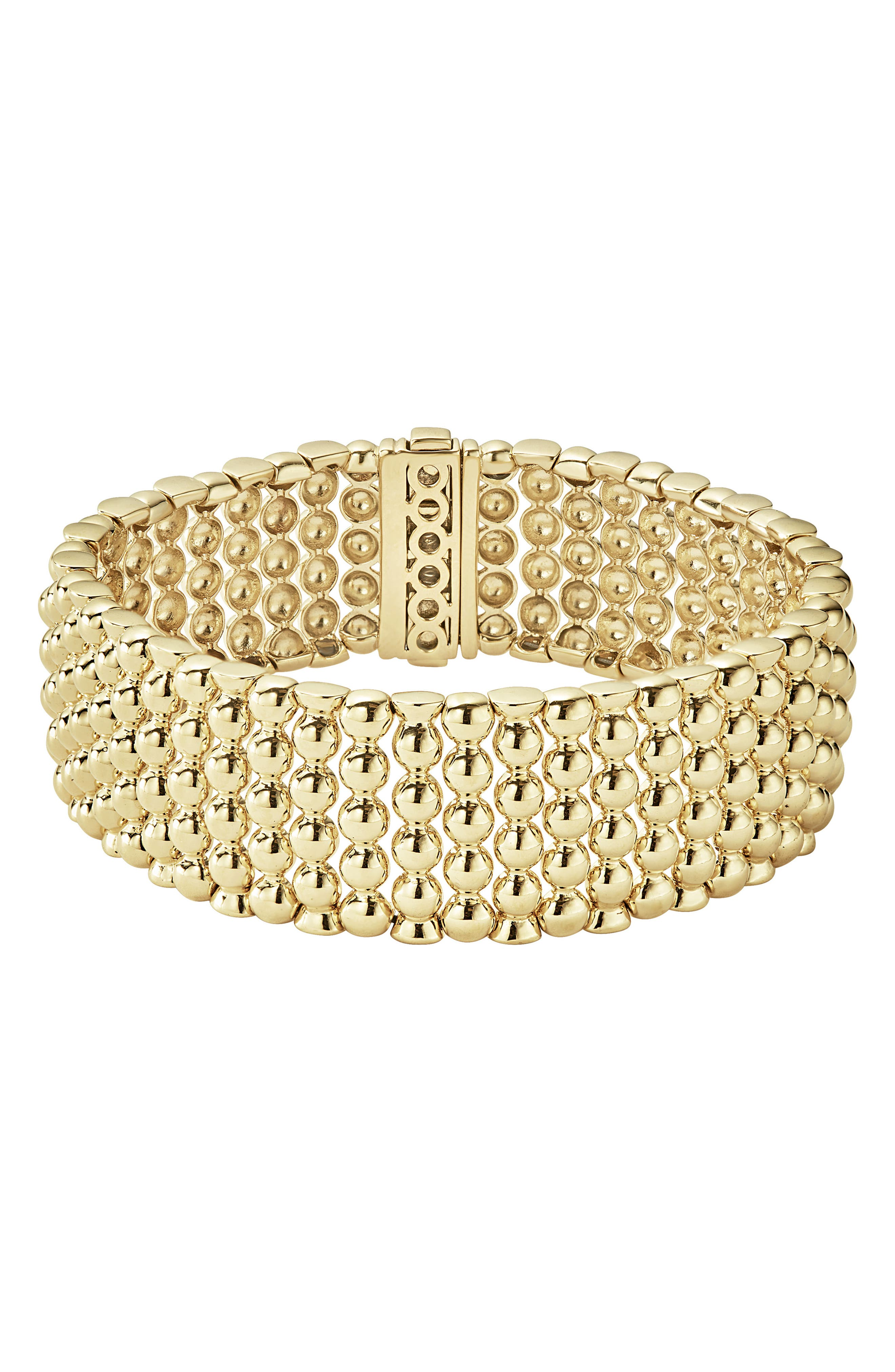 Caviar Gold Bold Wide Rope Bracelet,                             Main thumbnail 1, color,                             Gold