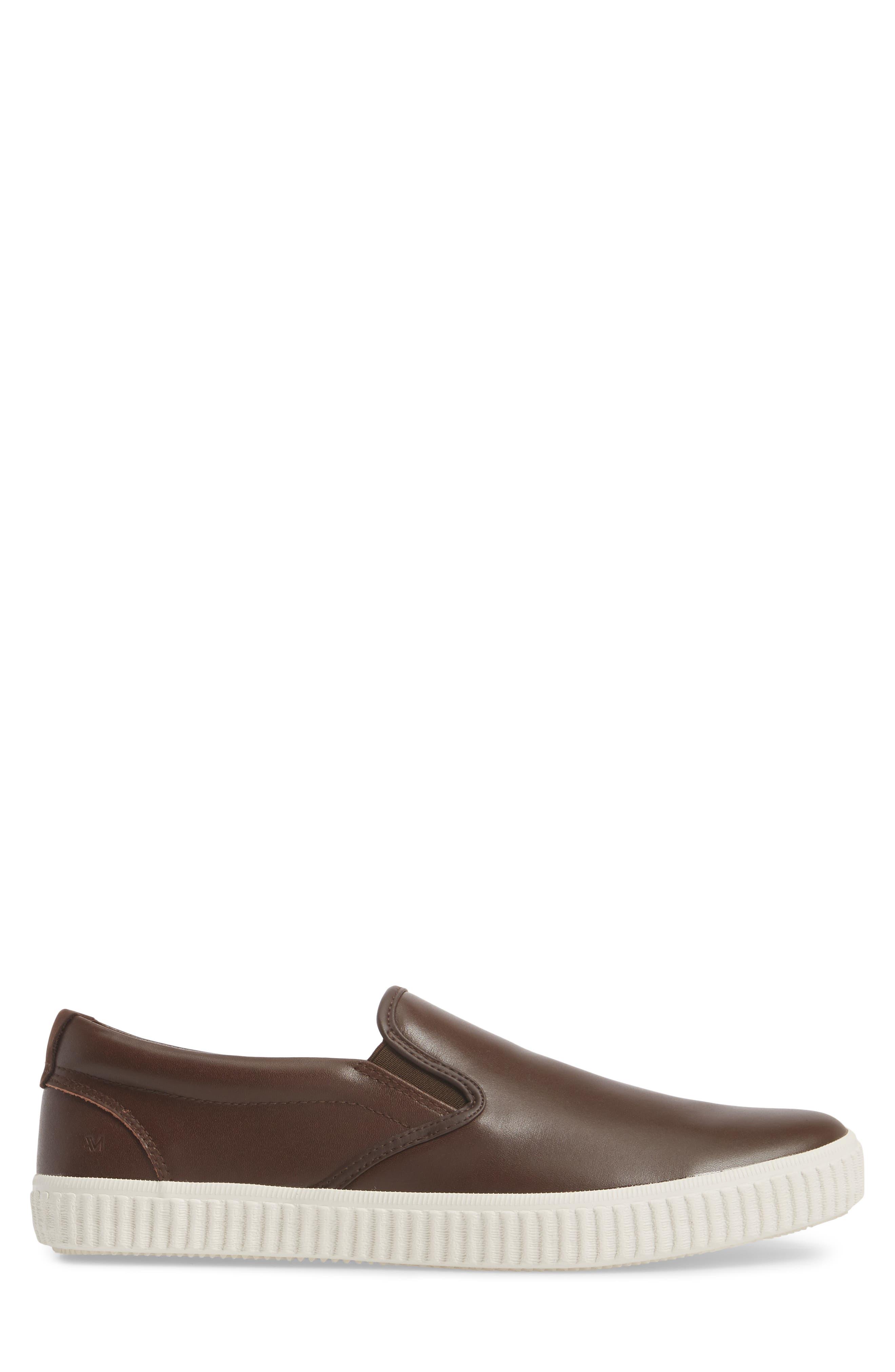 Riverside Slip-On Sneaker,                             Alternate thumbnail 3, color,                             Brown/ Off White Leather