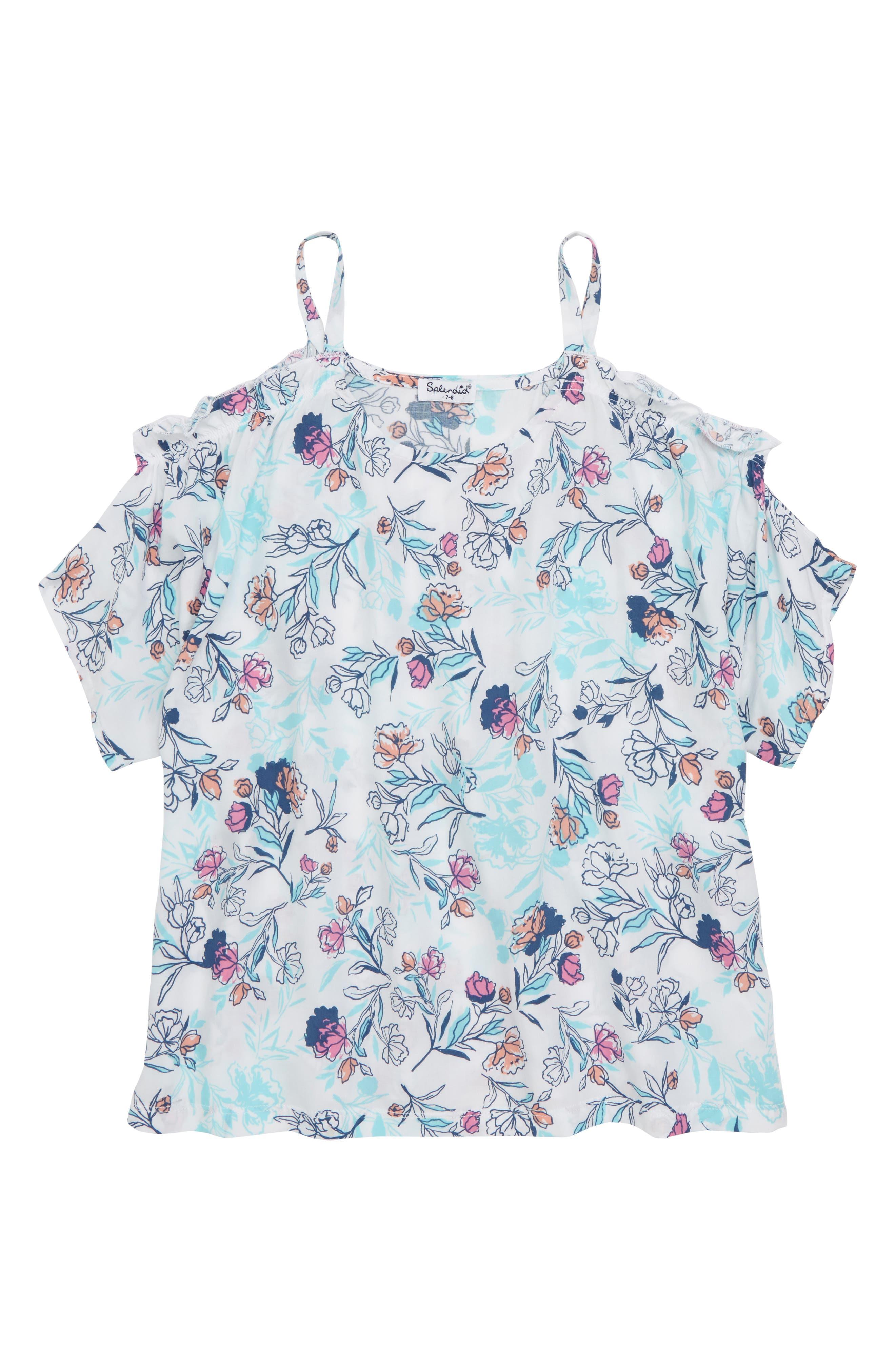 Floral Print Cold Shoulder Top,                         Main,                         color, Off White