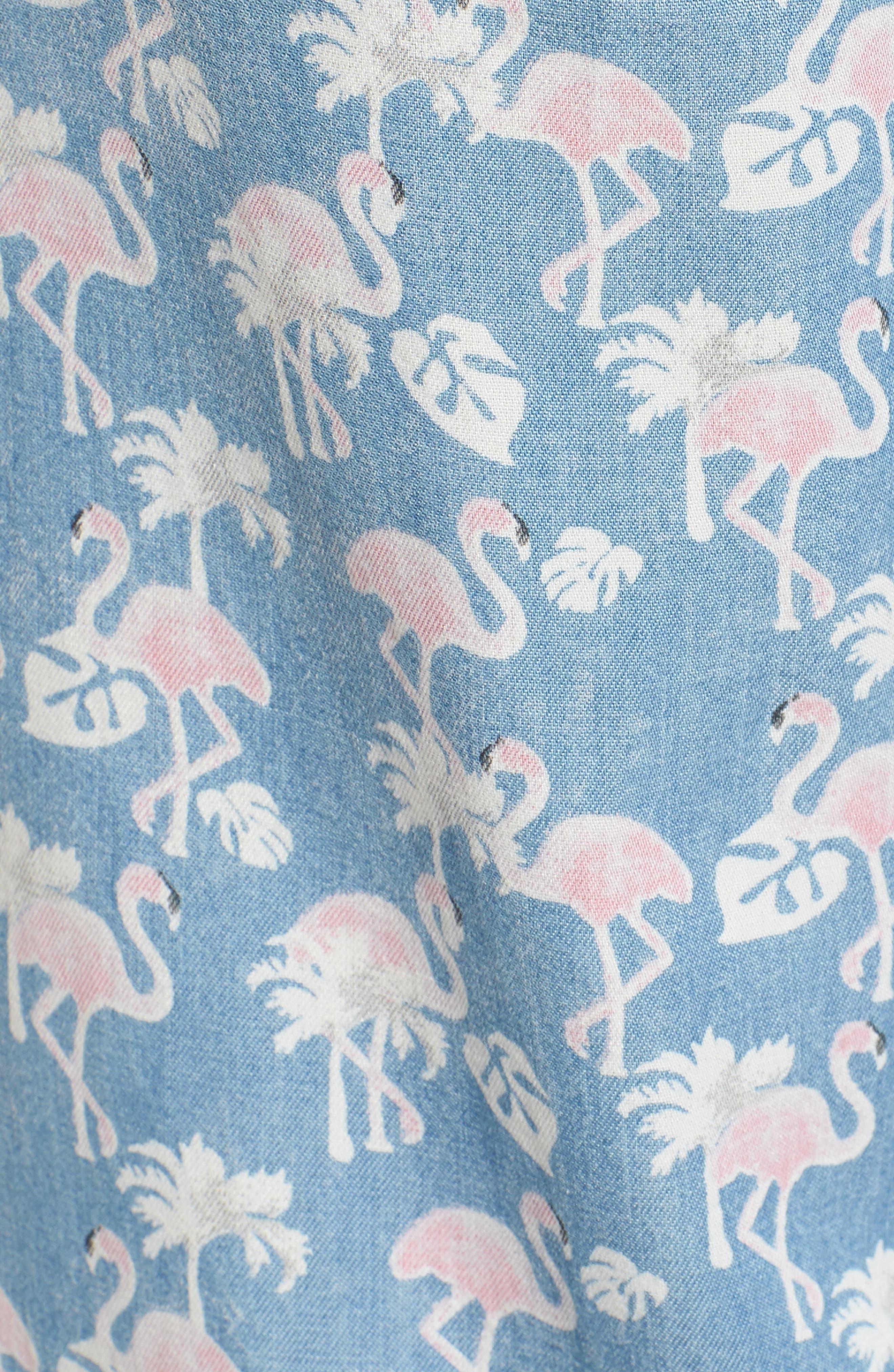 Pink Flamingo Drawstring Pants,                             Alternate thumbnail 6, color,                             Blue Flamingo
