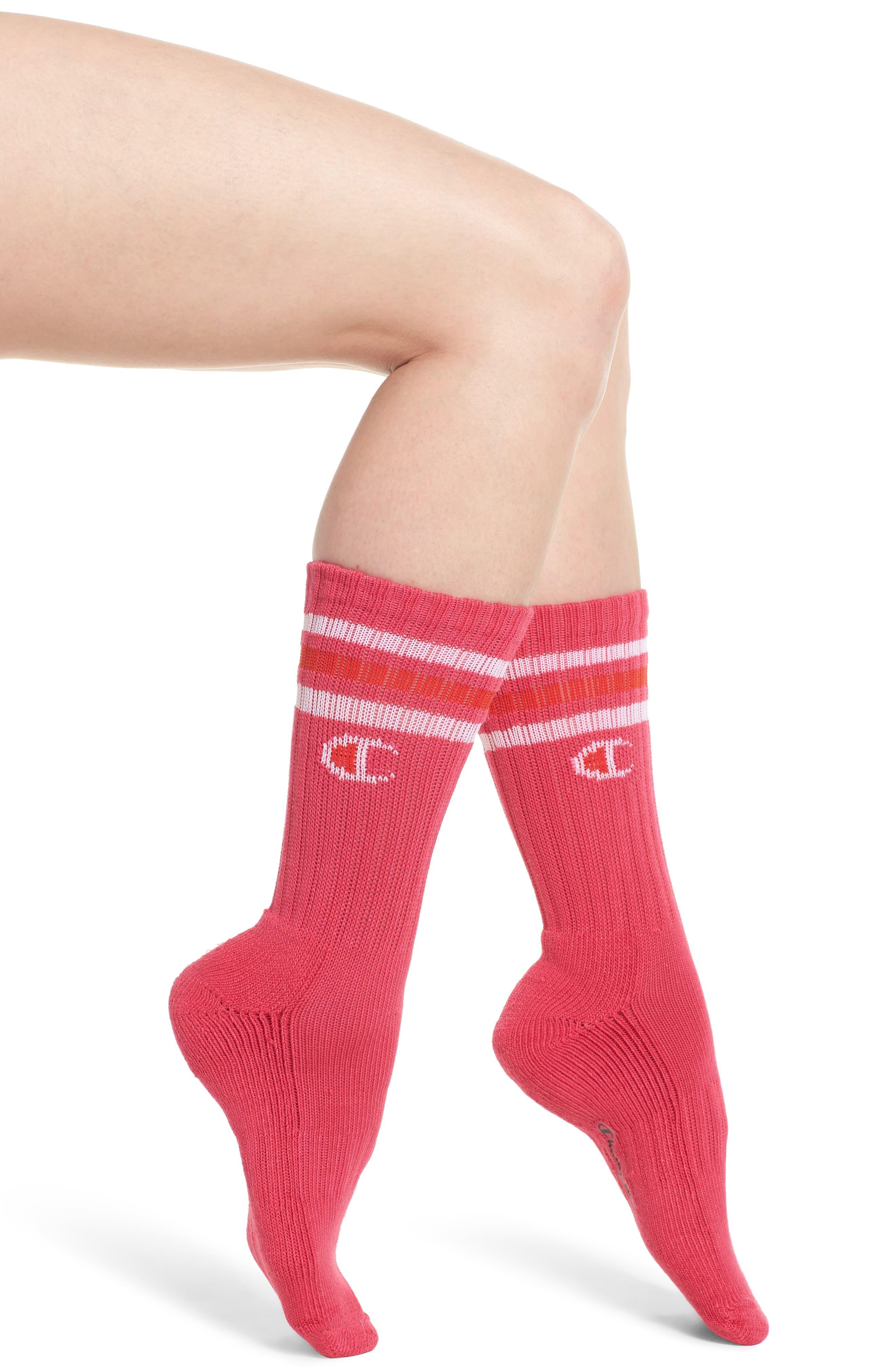 Big C Crew Socks,                         Main,                         color, Pink