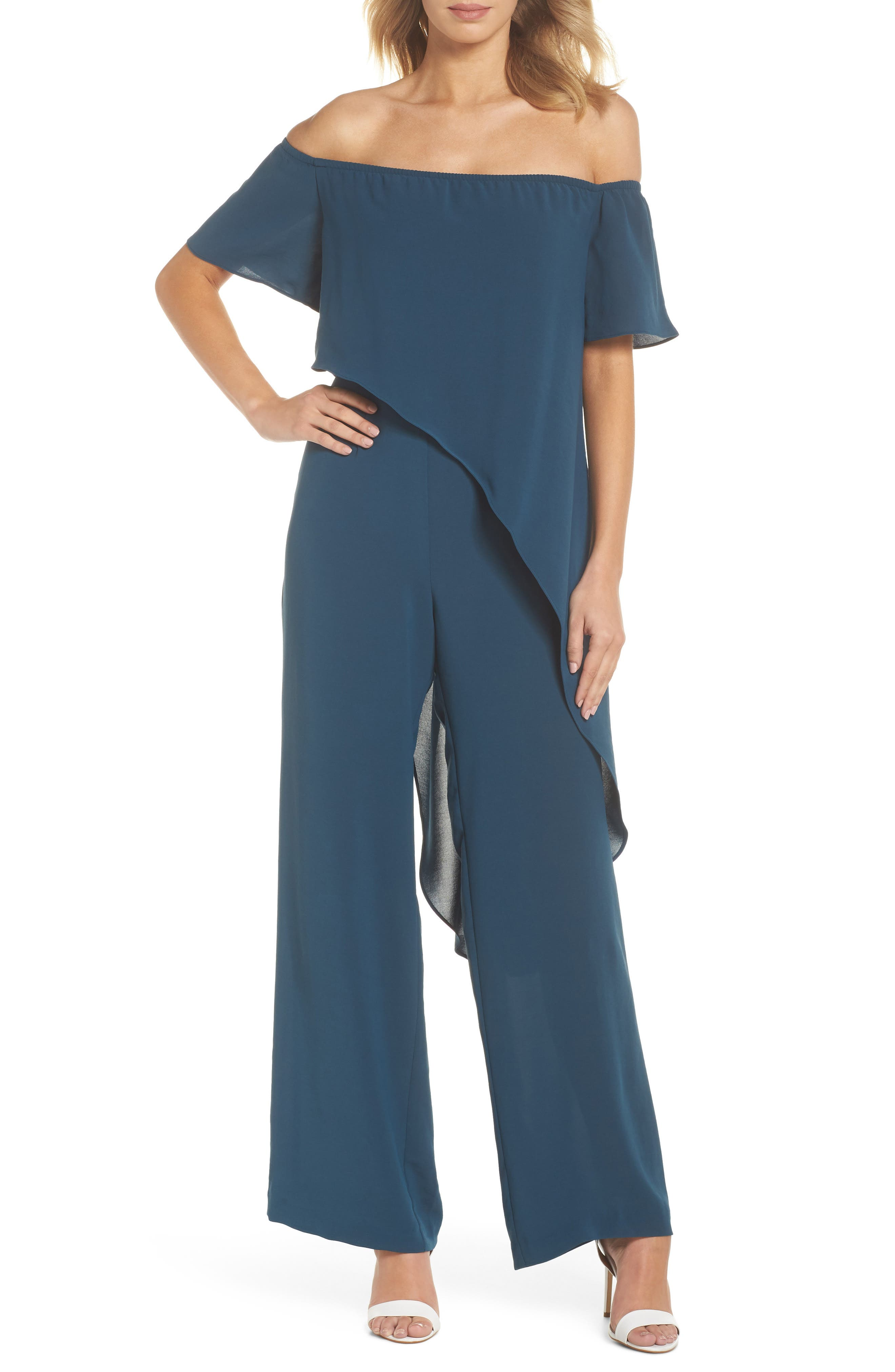 Off the Shoulder Crepe Jumpsuit,                             Main thumbnail 1, color,                             Midnight Jungle