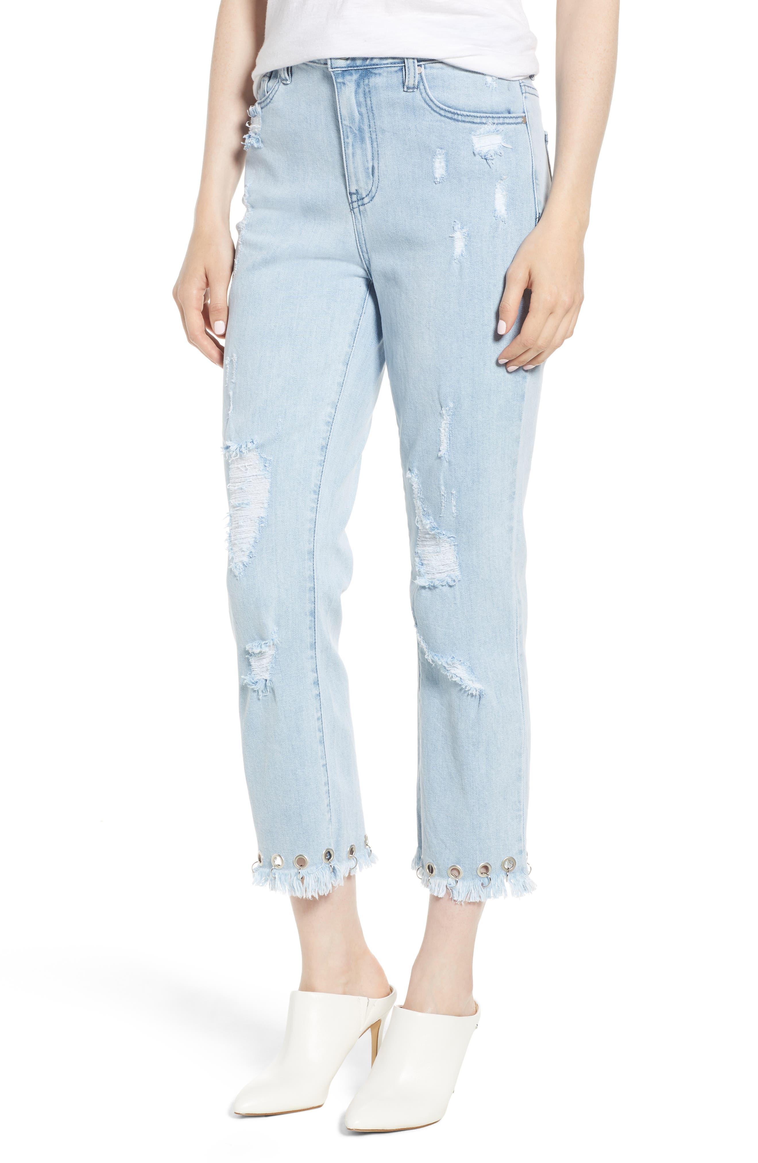 Grommet Hem Distressed Crop Jeans,                             Main thumbnail 1, color,                             Light Wash