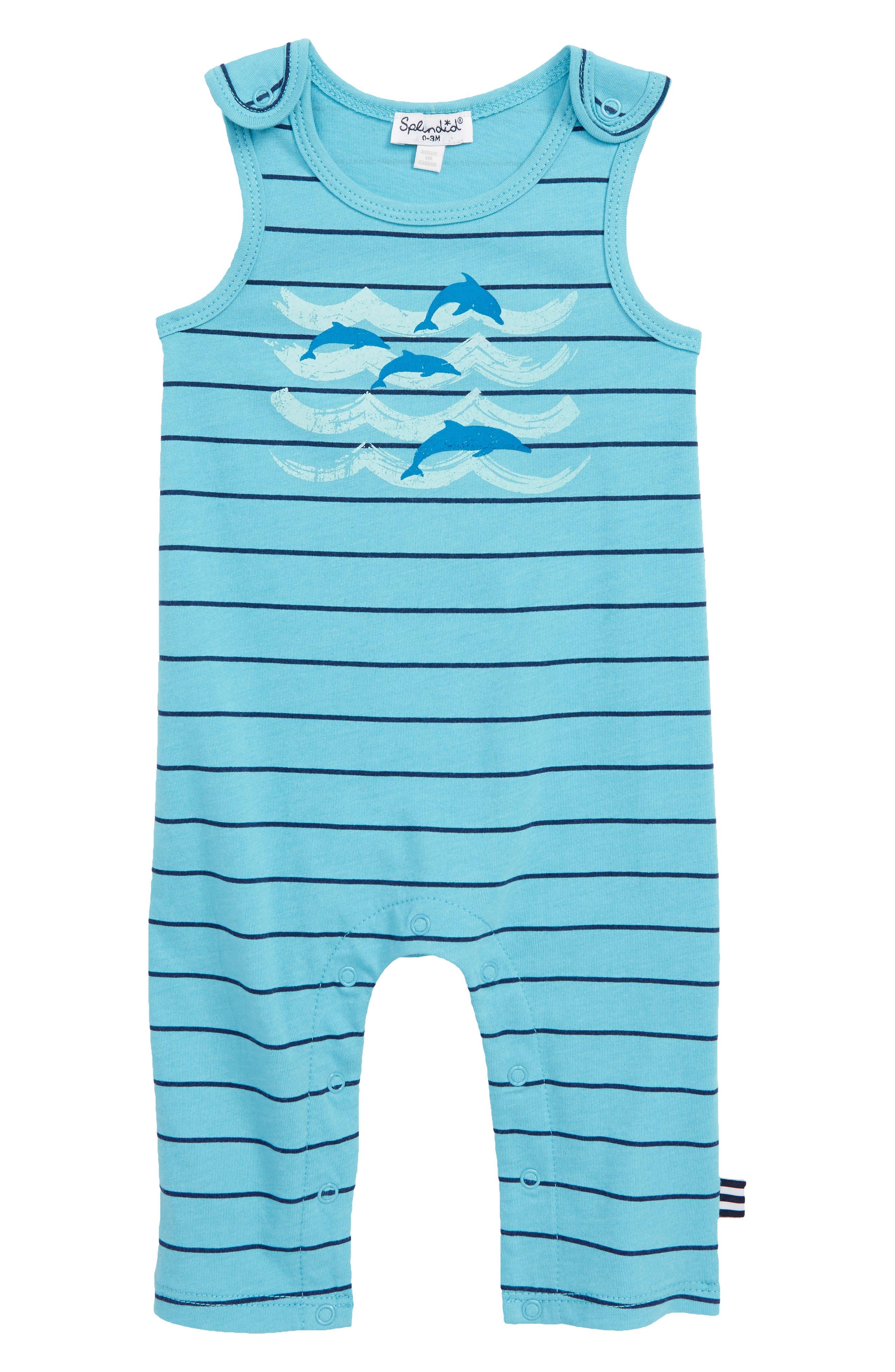 Dolphin Stripe Romper,                             Main thumbnail 1, color,                             Maui Blue Stripe